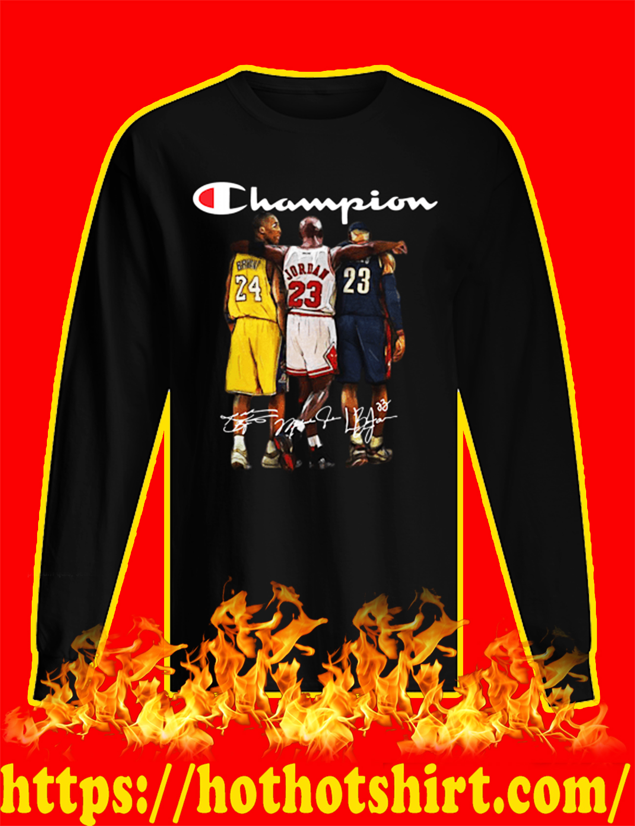 Rip Kobe Bryant Michael Jordan LeBron James Champion long sleeved T-shirt