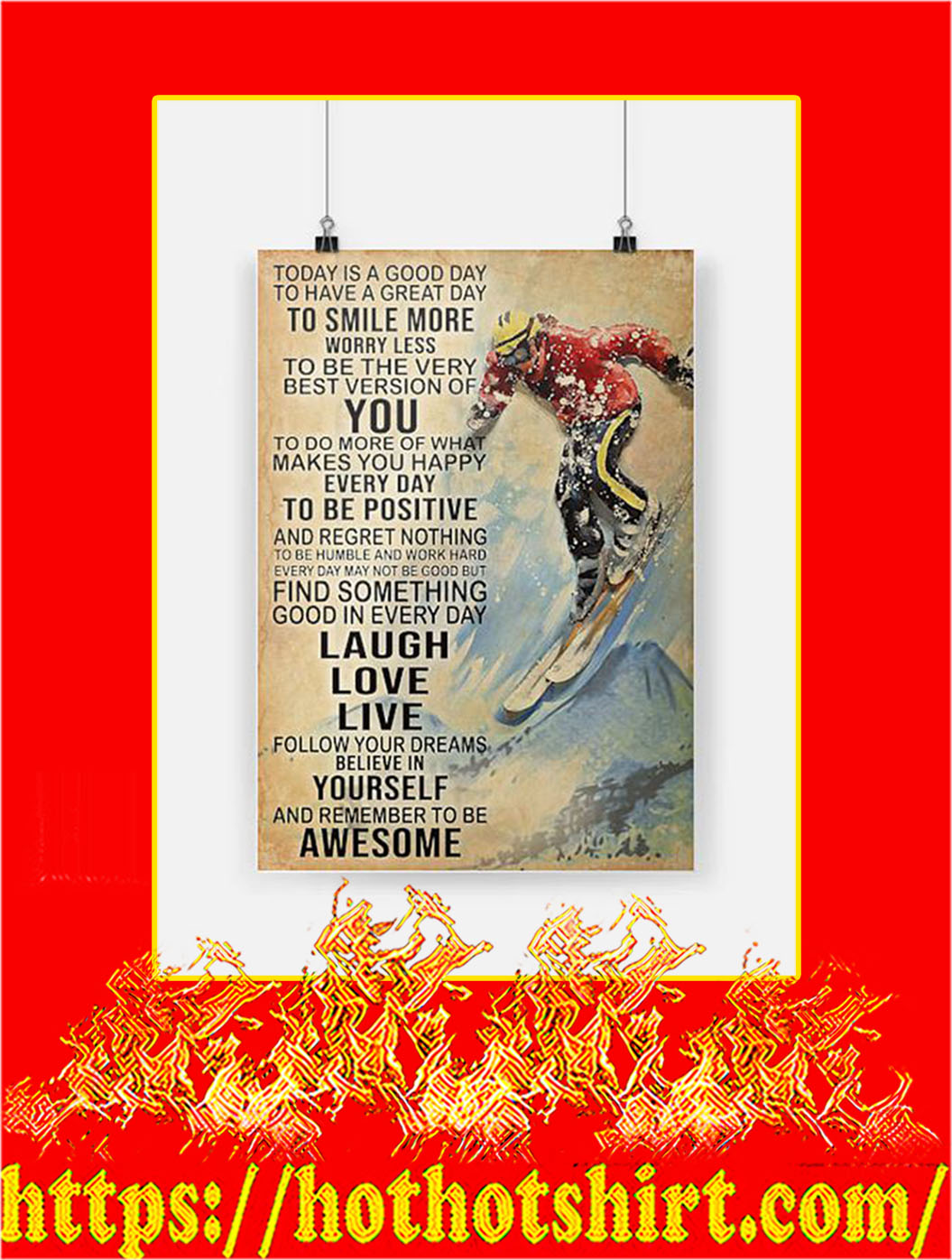 Skiing Today Is A Good Day Poster - A2
