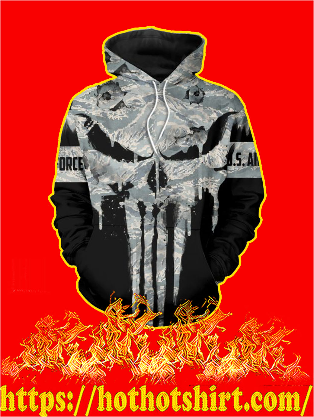 U.S Air Force Punisher Skull 3D Printed Hoodie