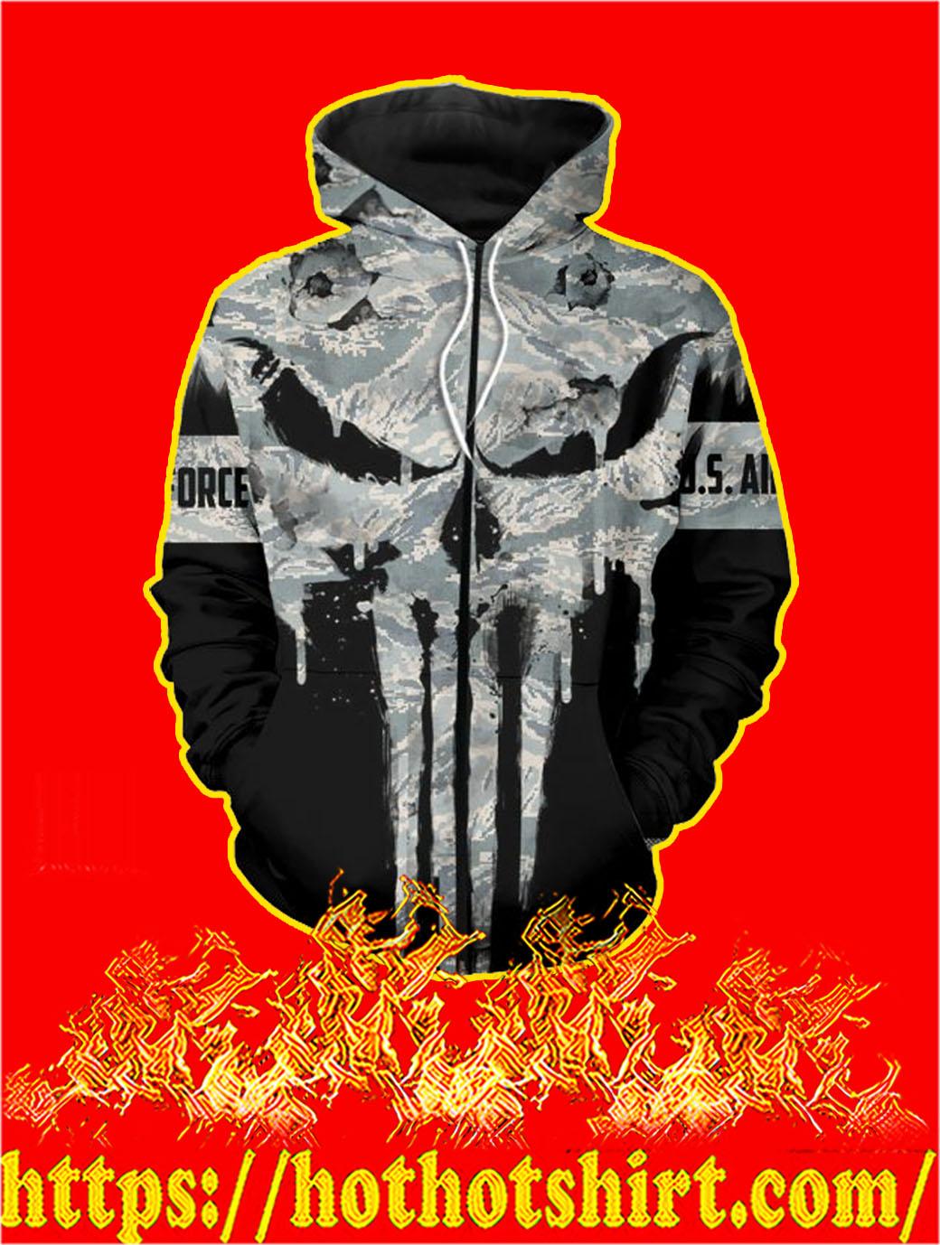 U.S Air Force Punisher Skull 3D Printed Zip Hoodie