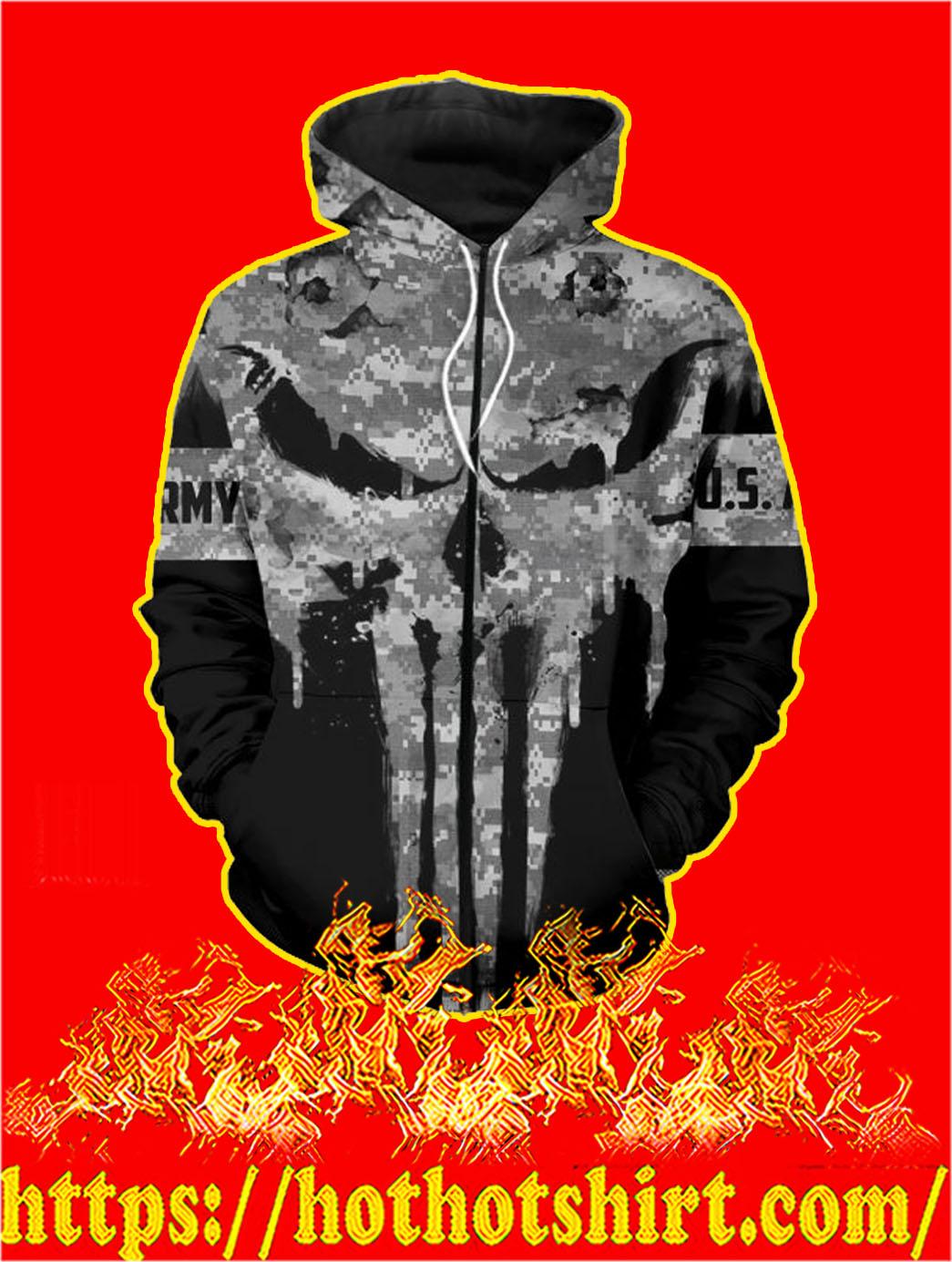 U.S Army Punisher Skull 3D Printed Zip Hoodie