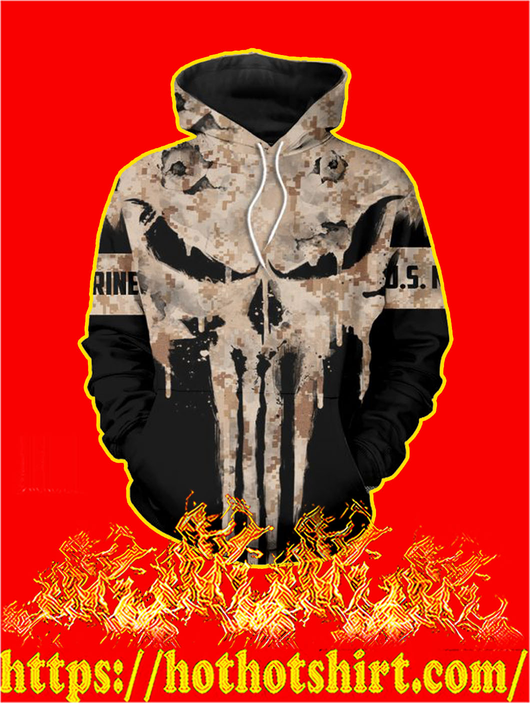 U.S Marine Punisher Skull 3D Printed Hoodie