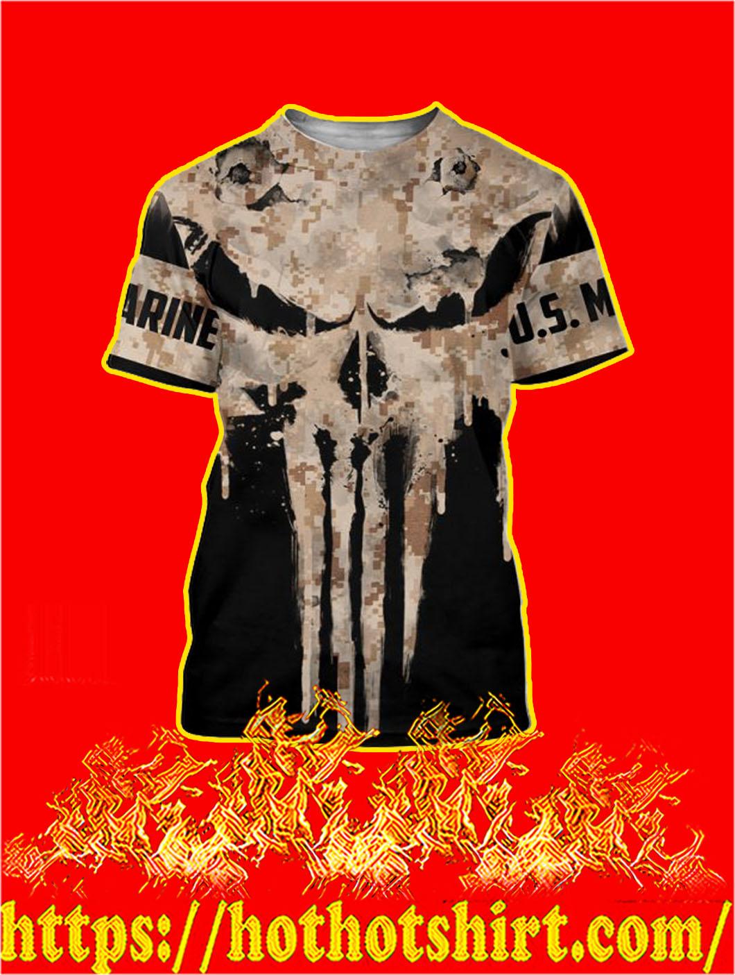U.S Marine Punisher Skull 3D Printed T- shirt