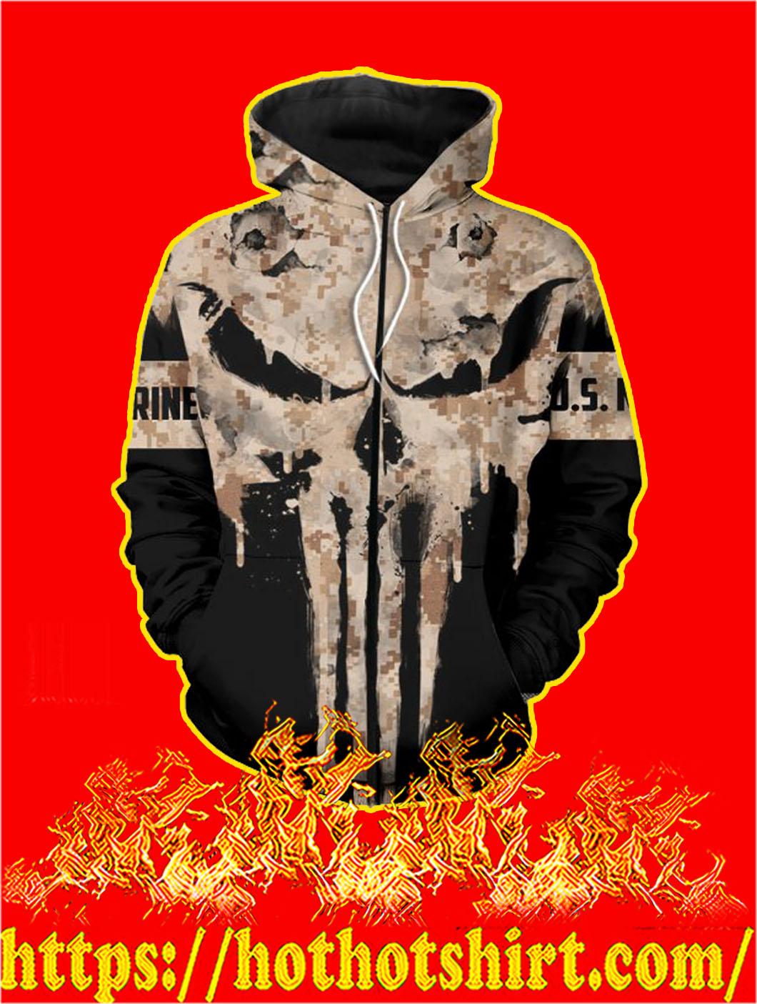 U.S Marine Punisher Skull 3D Printed Zip Hoodie