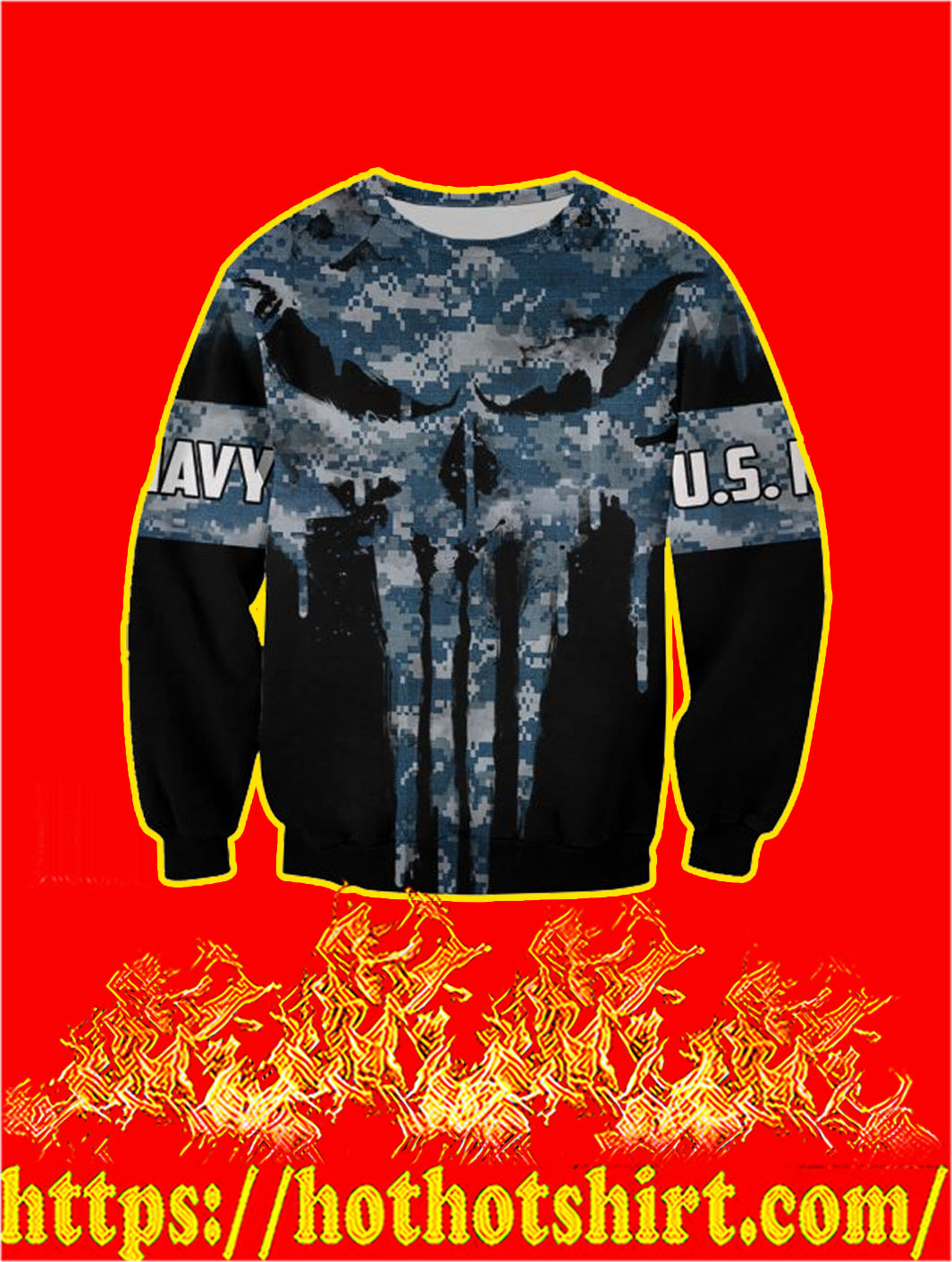 U.S Navy Punisher Skull 3D Printed Sweatshirt