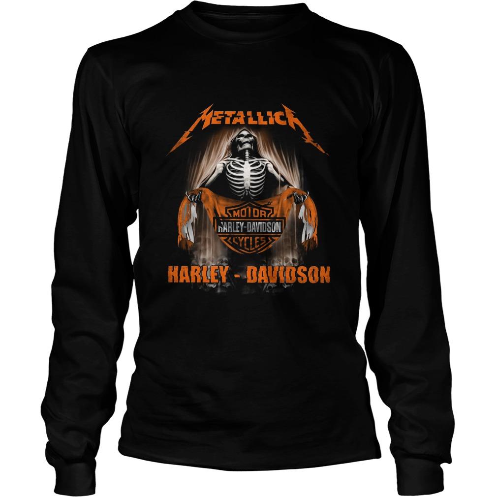 Metallica Harley Davidson Skull Long Sleeved T-shirt