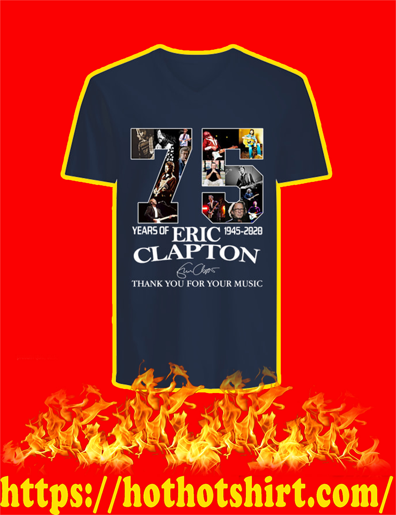 75 Years Of Eric Clapton Thank You For Your Music V-neck