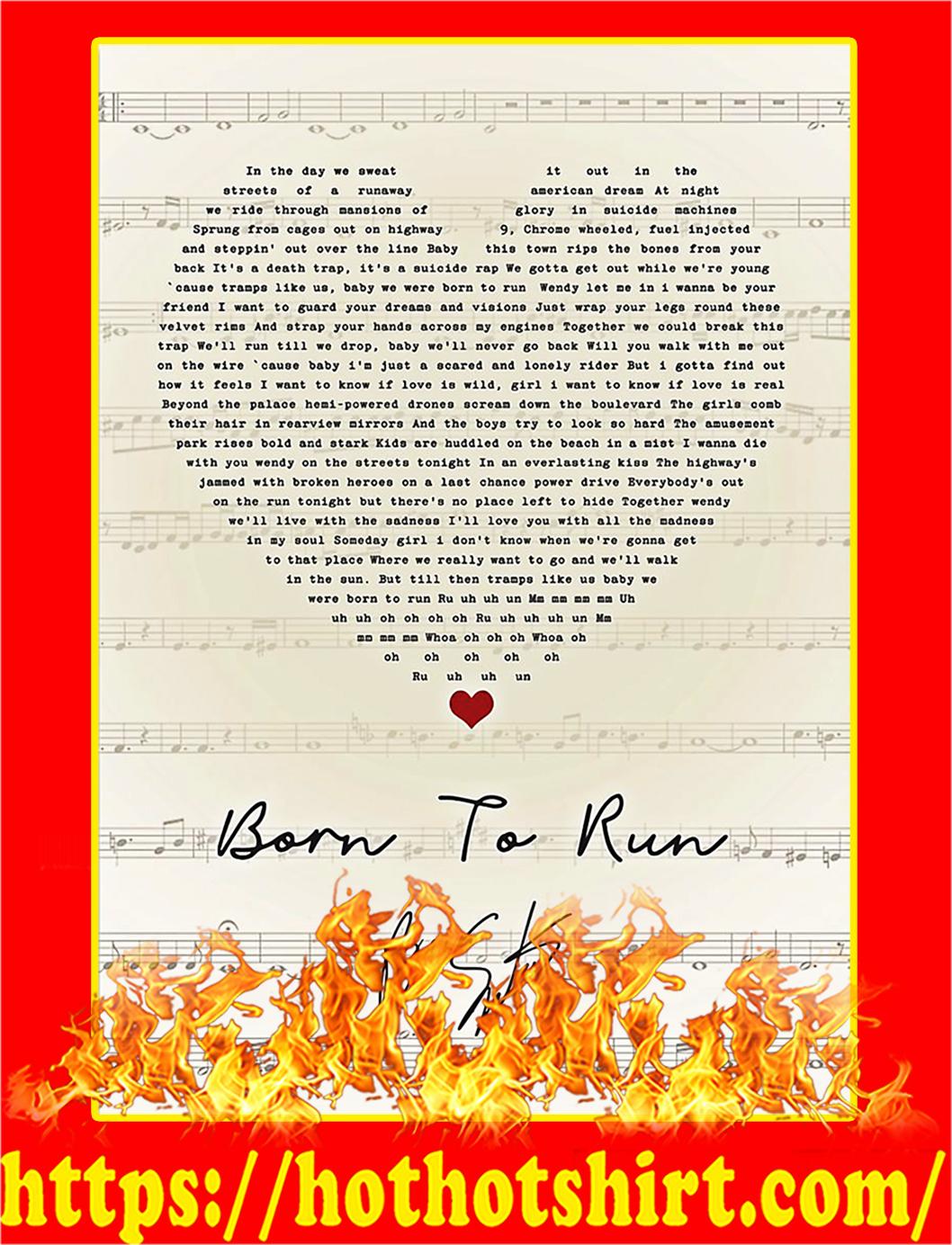 Born To Run Signature Poster - A1