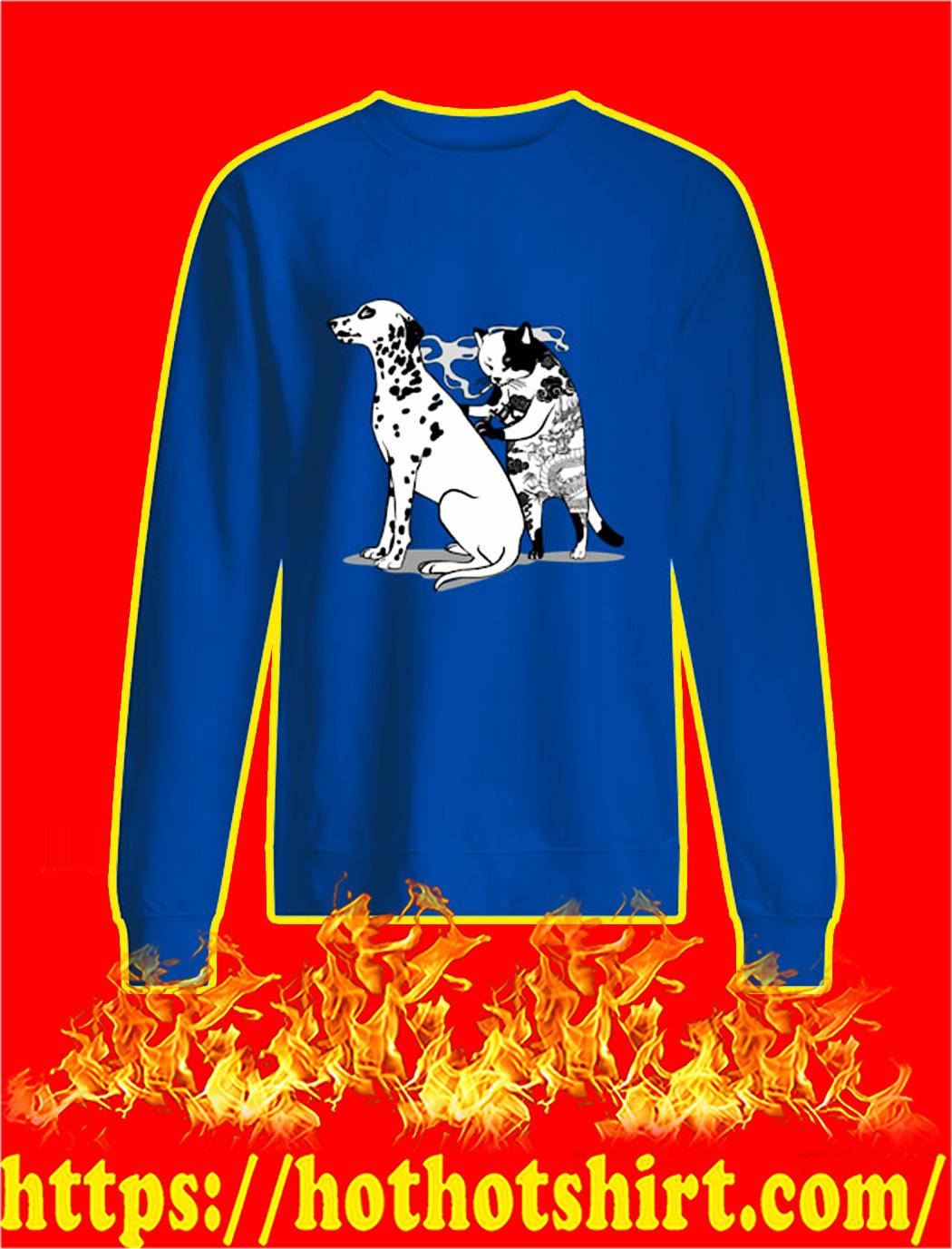 Cat Doing Tattoo Dalmatian Dog sweatshirt