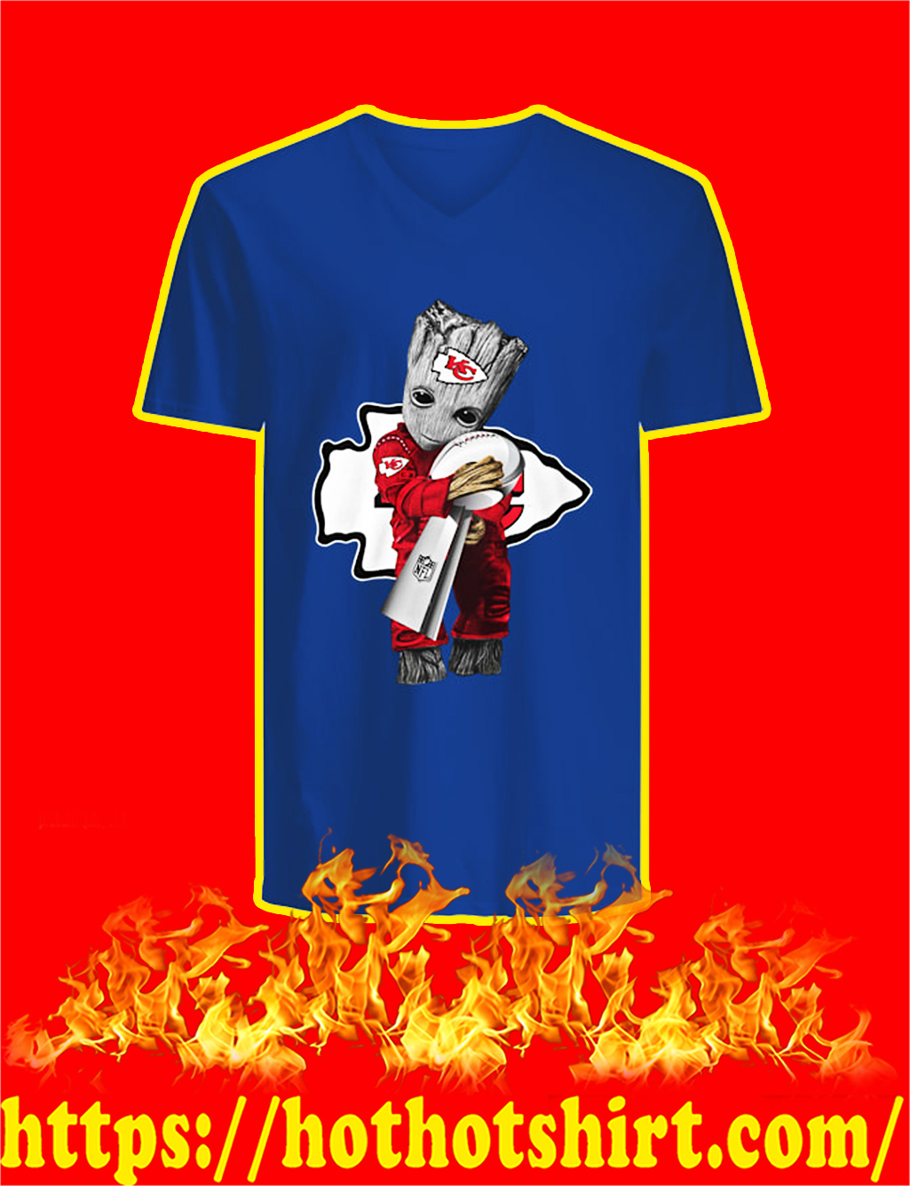 Chiefs Groot Hug Vince Lombardi Trophy v-neck