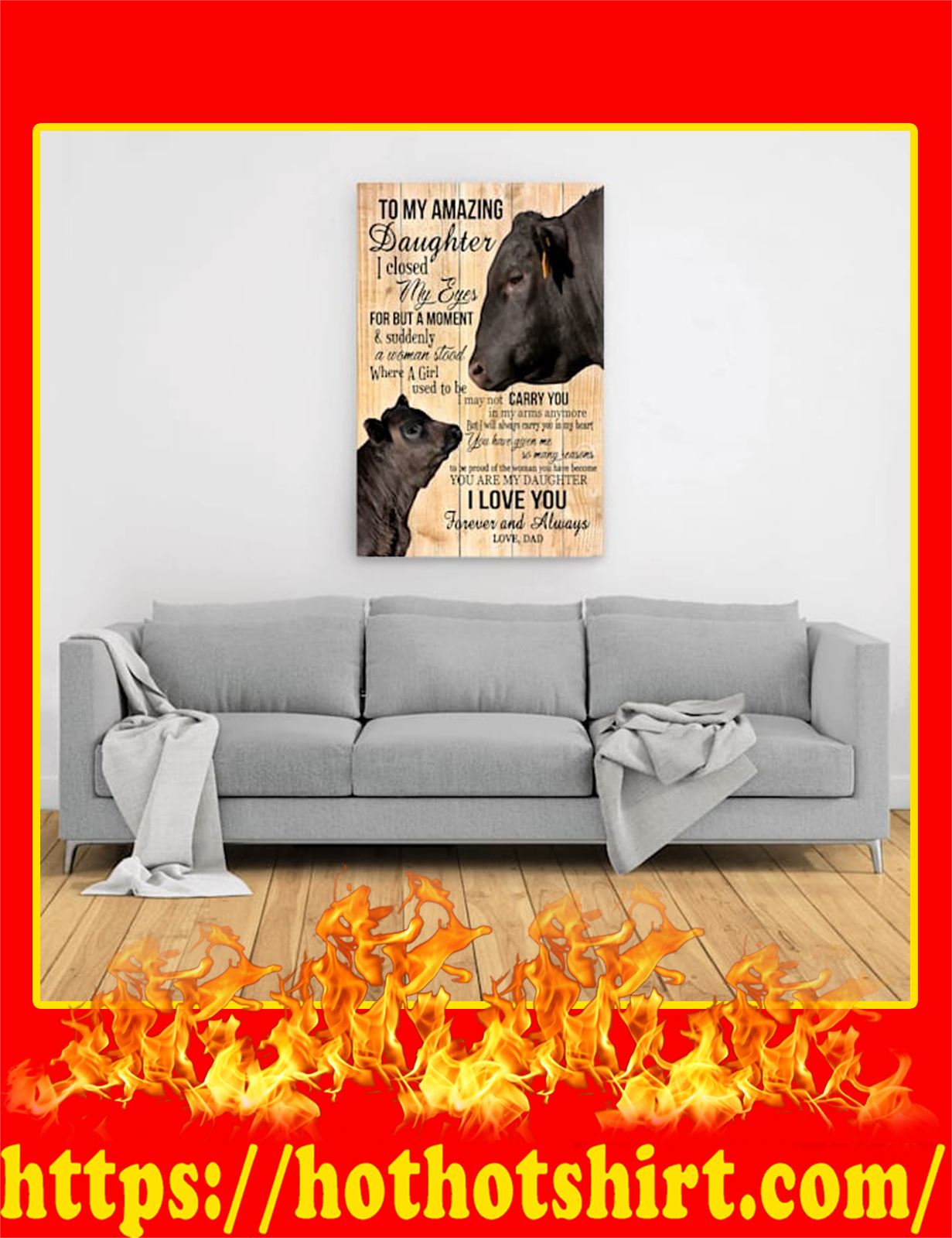Cow To My Amazing Daughter Canvas Prints - Large Size