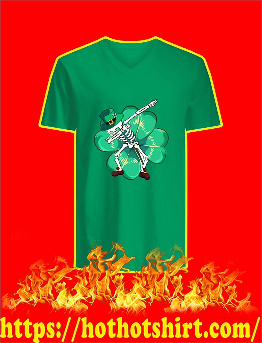 Dabbing Skeleton St Patrick's Day v-neck