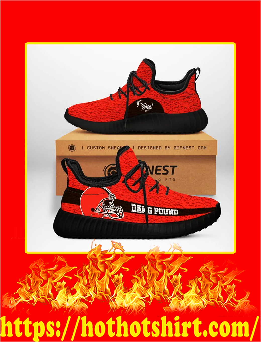 Dawg Pound Cleveland Browns NFL Yeezy Sneaker - white