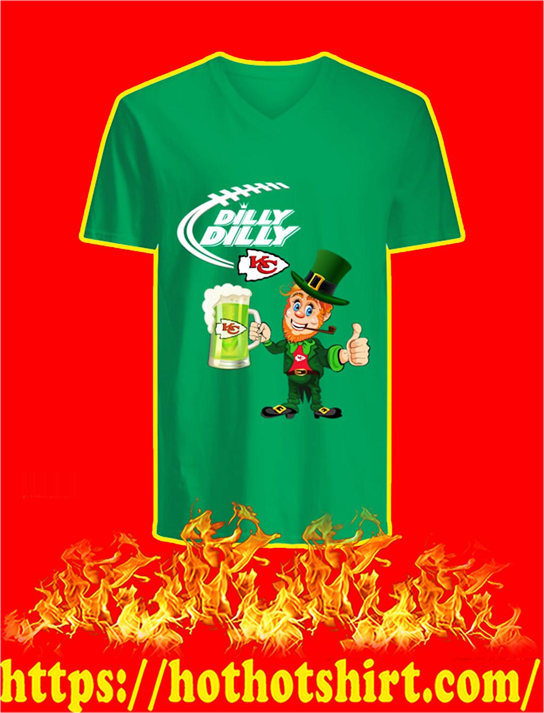 Dilly Dilly Chiefs Leprechaun St Patrick's Day v-neck