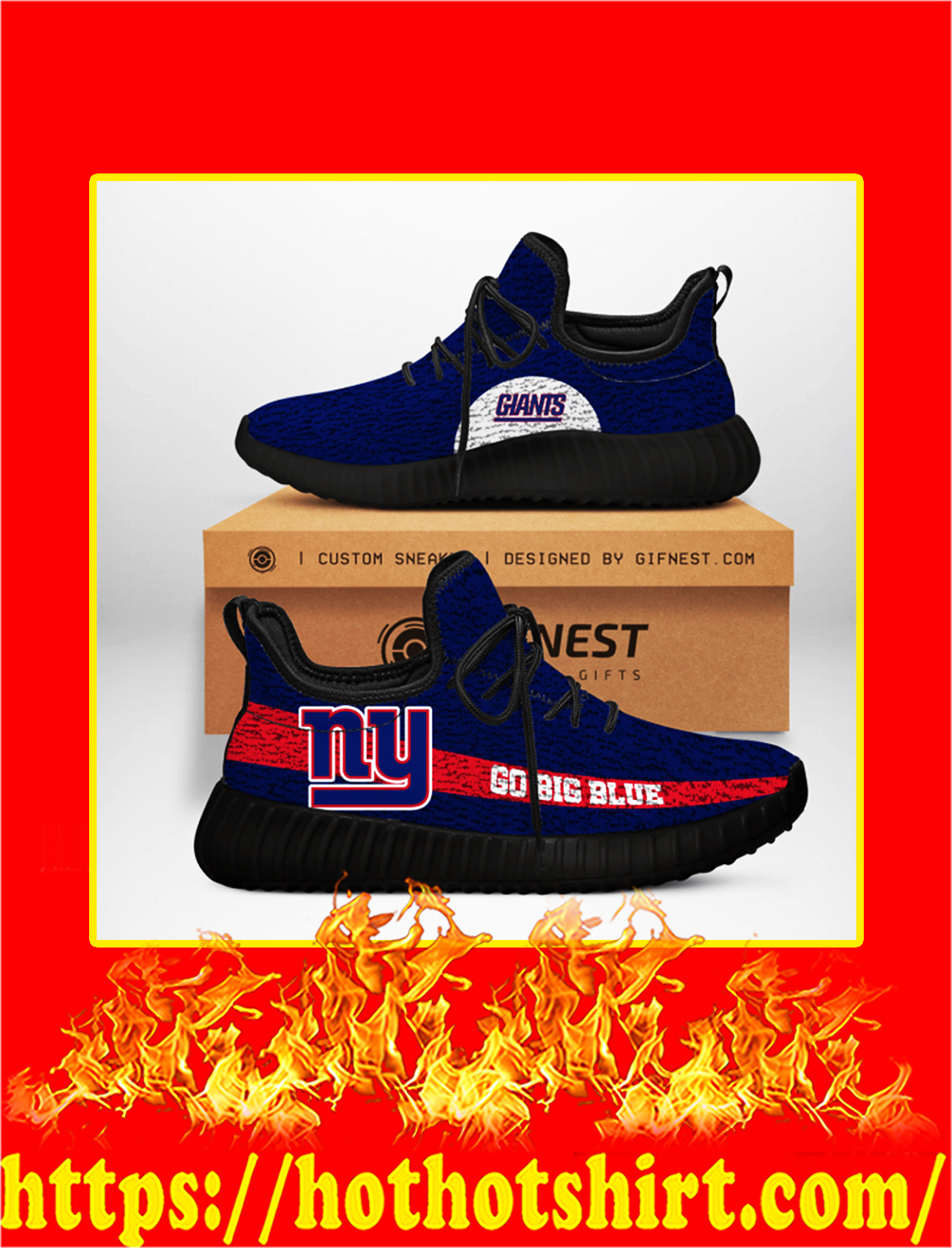 Go Big Blue New York Giants NFL Yeezy Sneaker - white