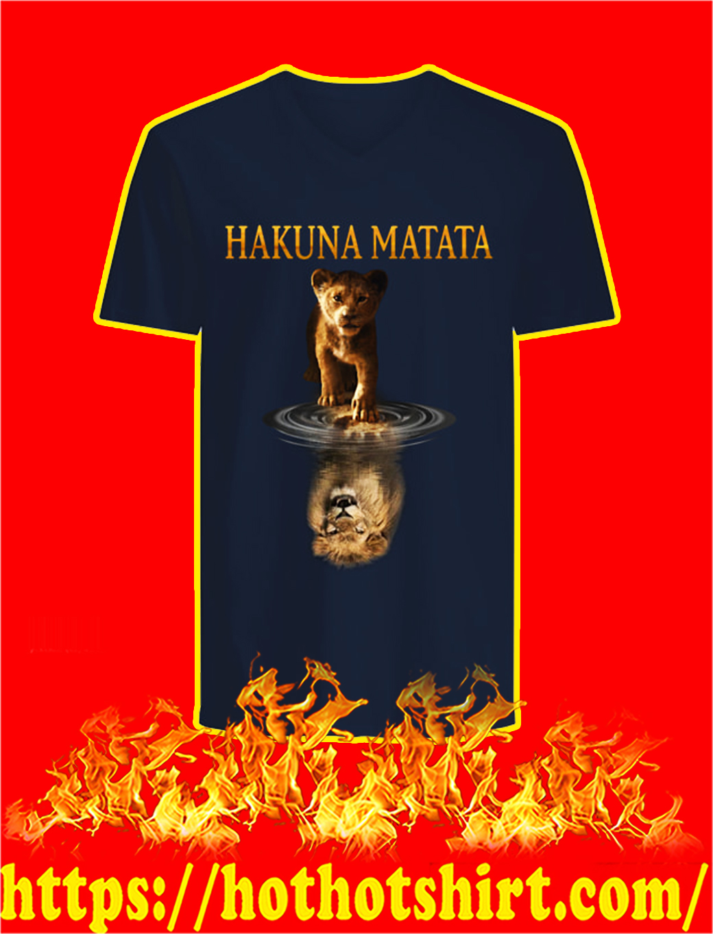 Hakuna Matata Lion Mirror Reflection v-neck