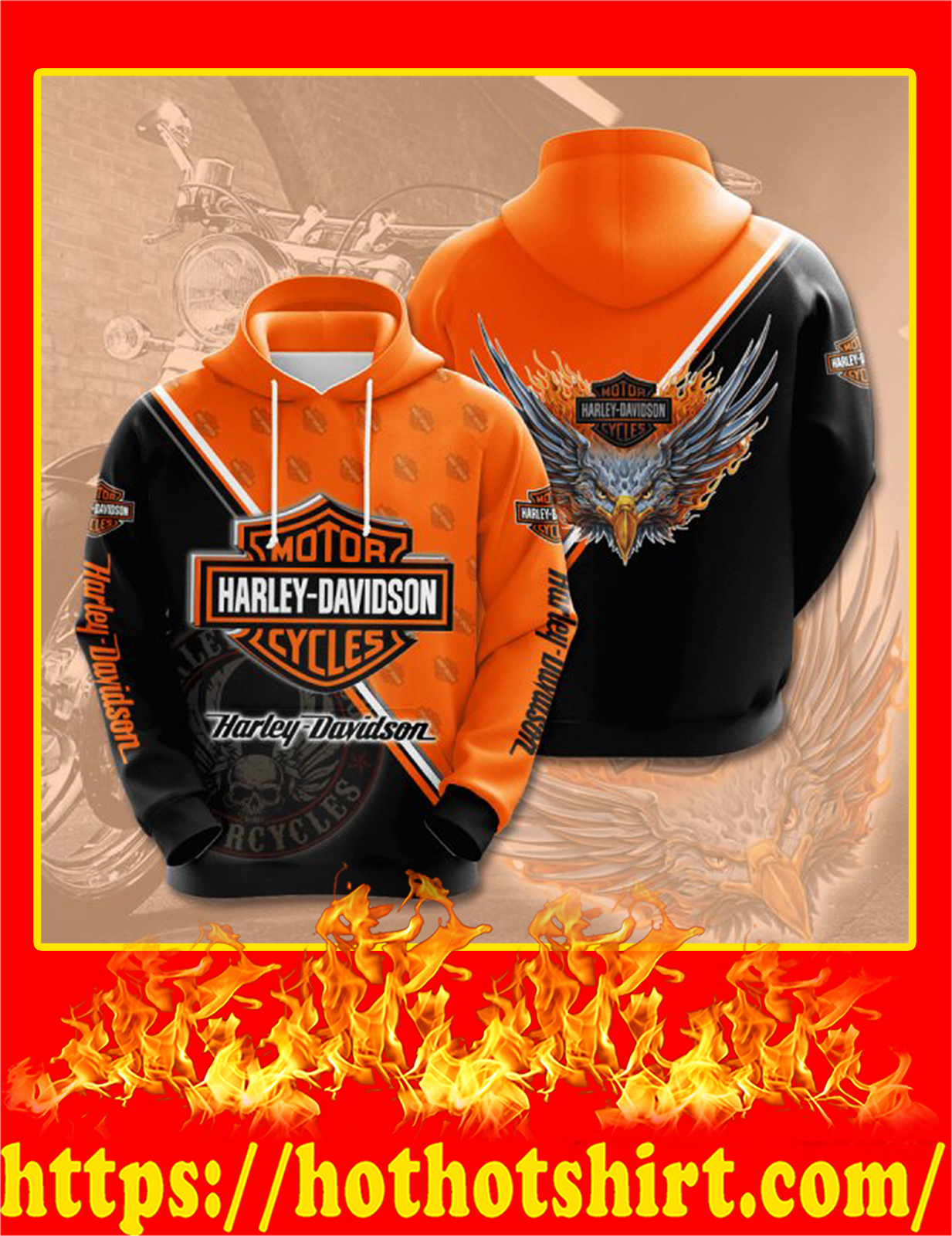 Harley Davidson Eagle 3D Hoodie - 2XL