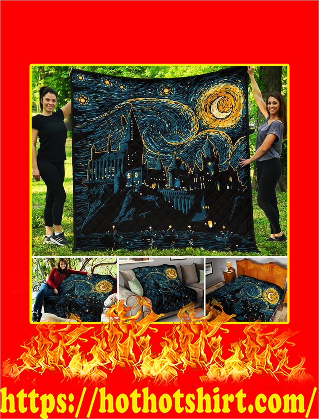 Hogwarts Starry Night Quilt Blanket - queen