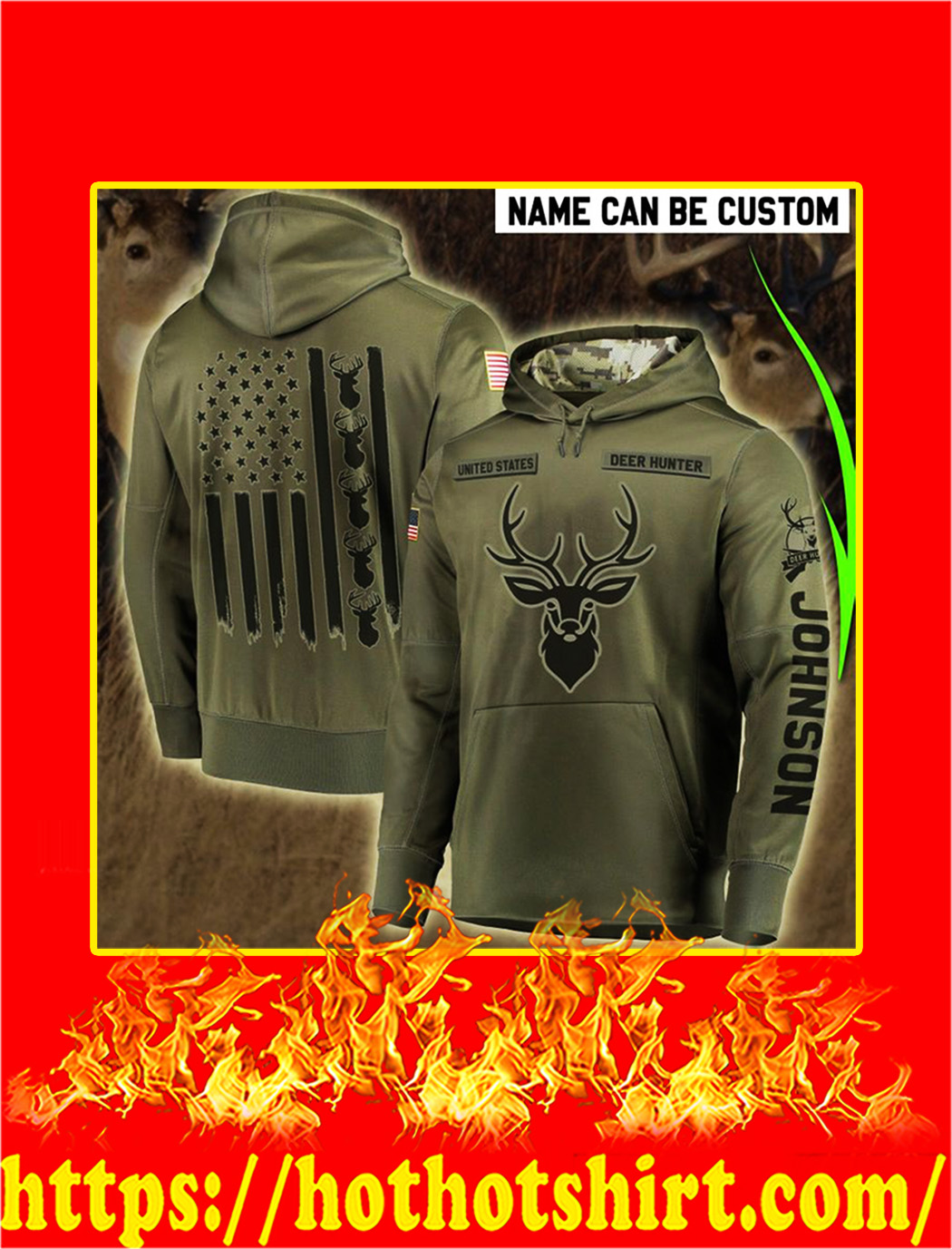 Hunting Personalize Custom Name 3D Hoodie - L