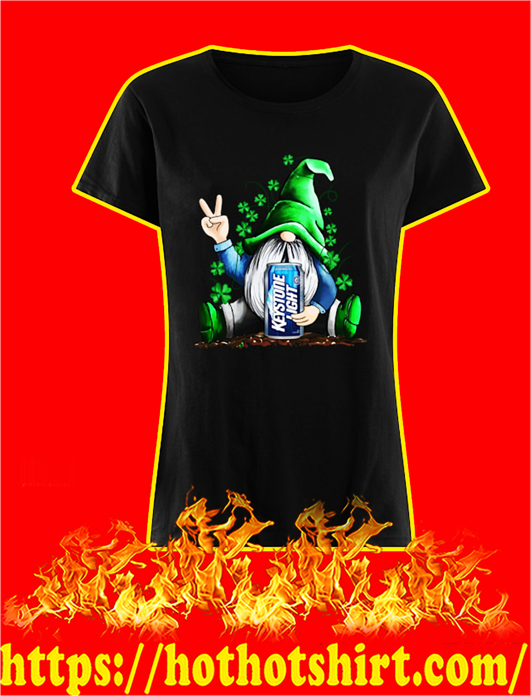 Irish Gnome Hug Keystone Light St Patrick's Day lady shirt