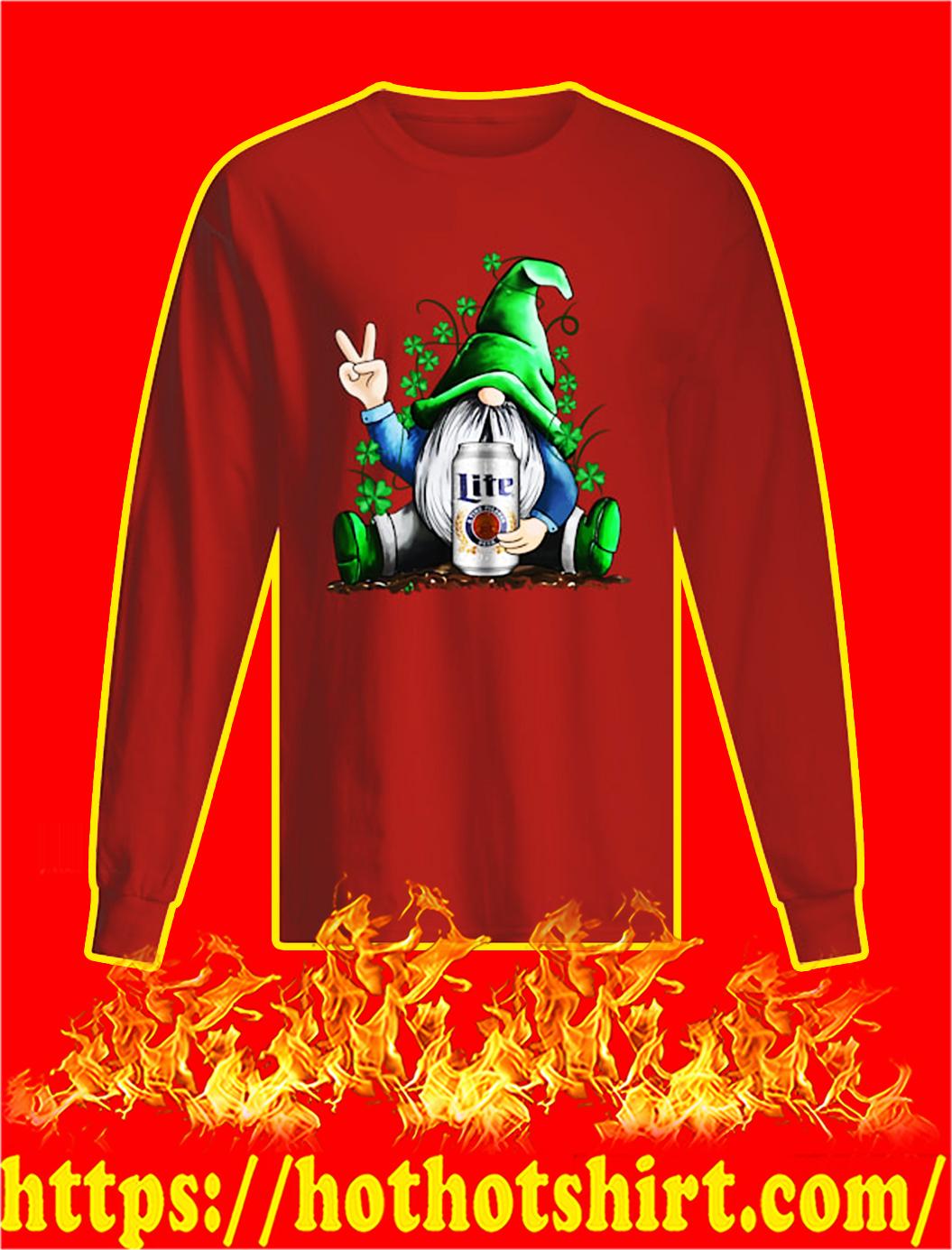 Irish Gnome Hug Miller Lite St Patrick's Day longsleeve tee