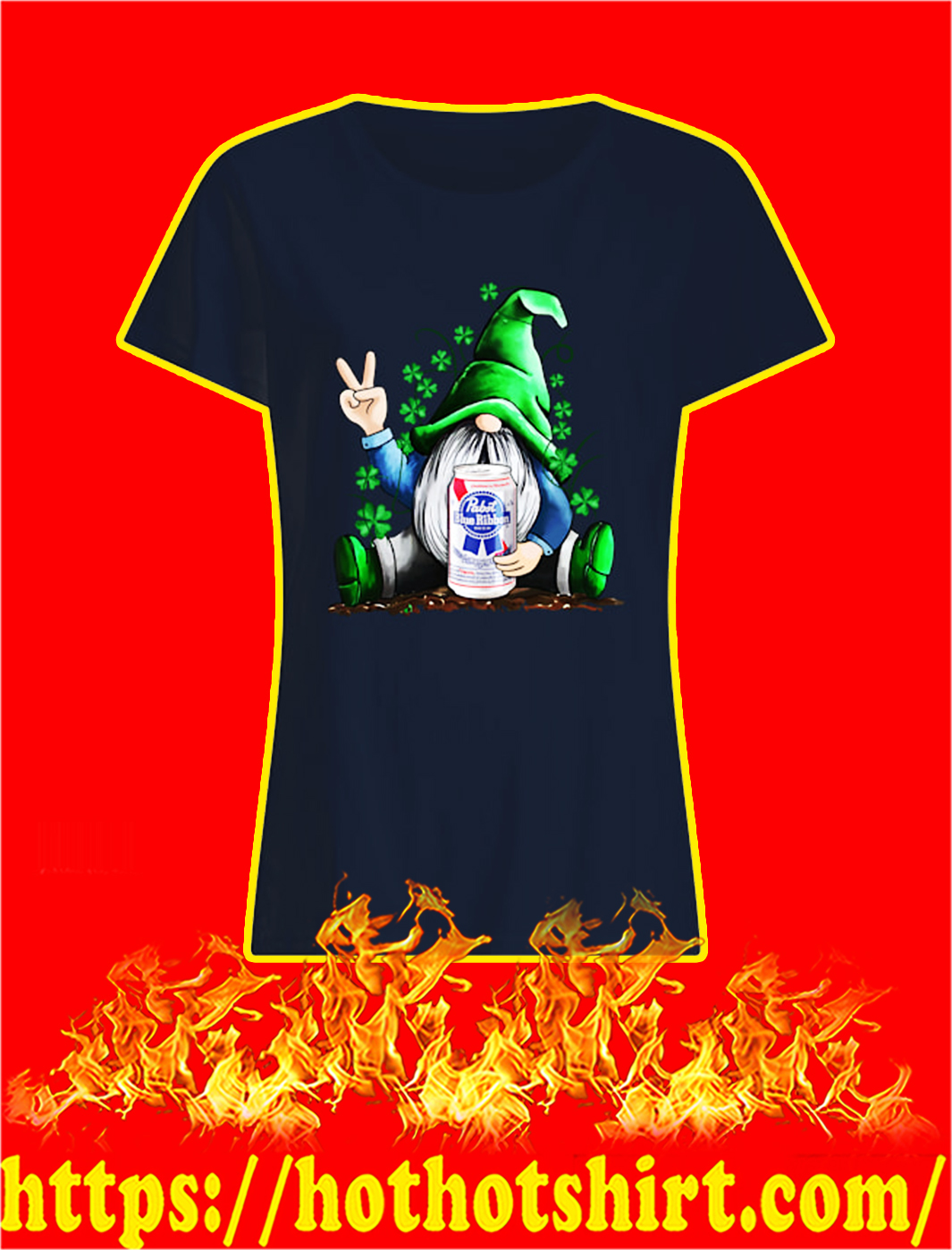 Irish Gnome Hug Pabst Blue Ribbon St Patrick's Day lady shirt