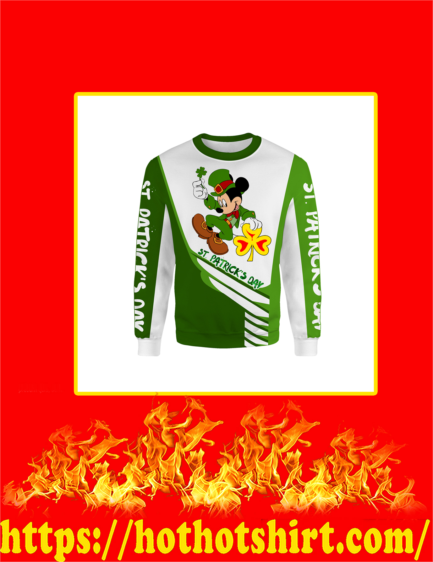 Irish Saint Patrick's Day Mickey Mouse All Over Print Sweatshirt