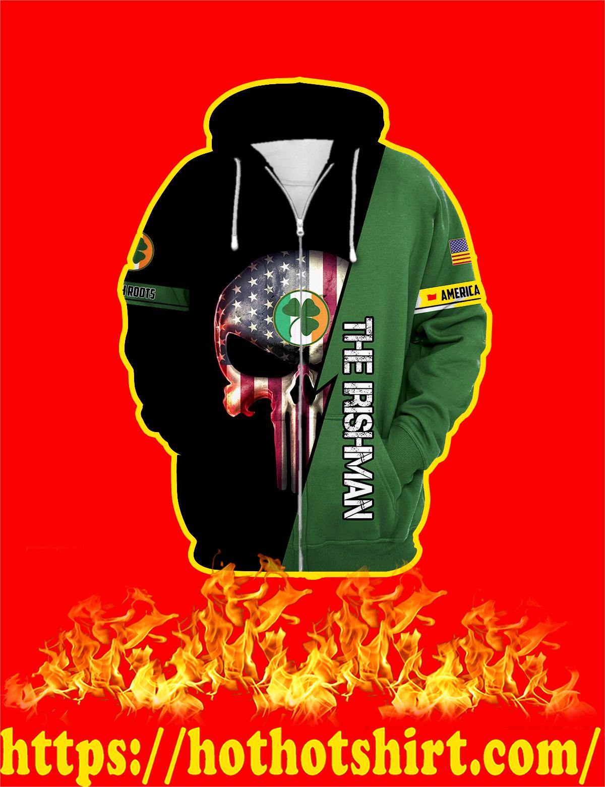 Irishman Irish Punisher Skull 3D Zip Hoodie