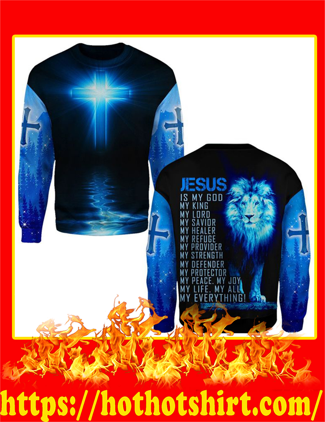 Jesus Is My God My Everything Lion All Over Printed Long Sleeved T-shirt
