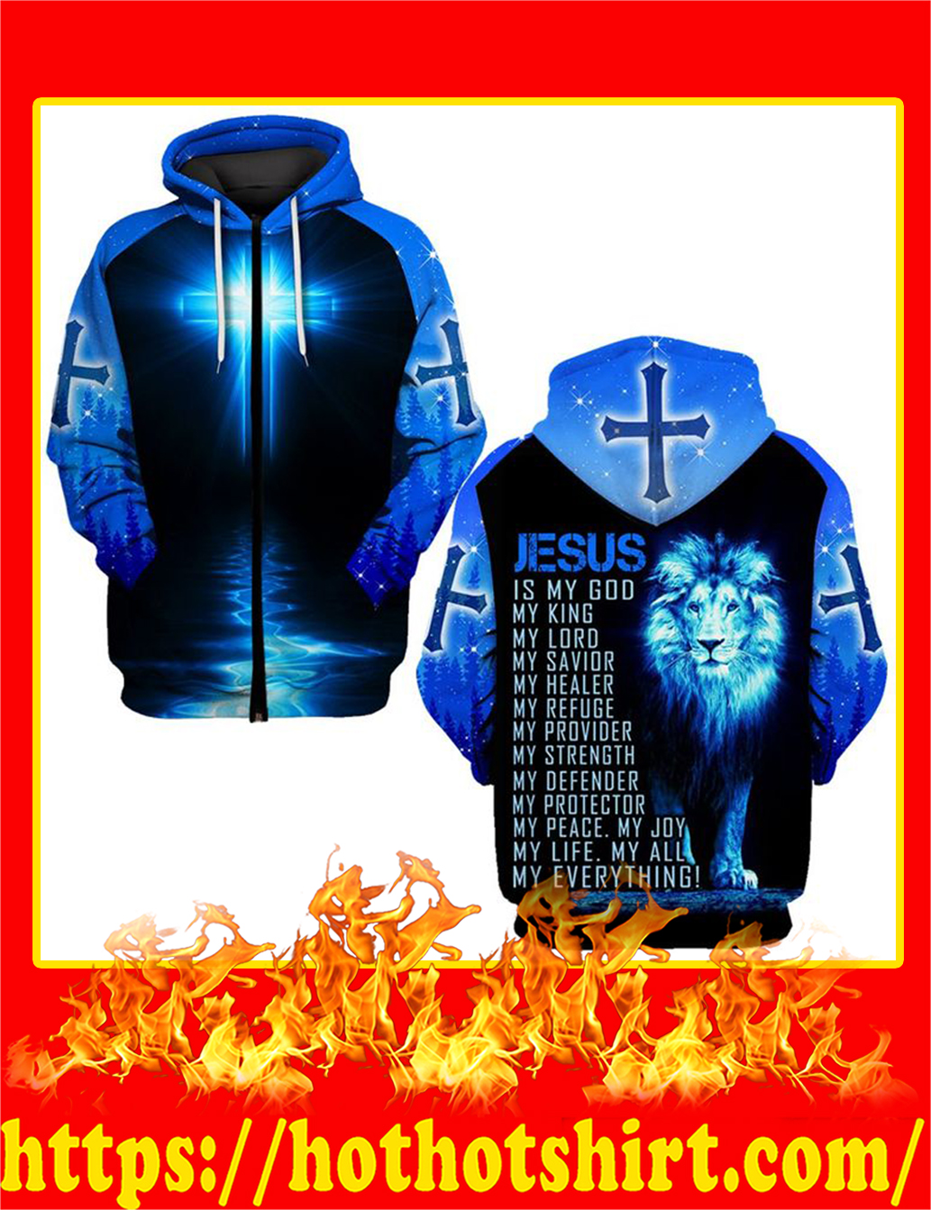 Jesus Is My God My Everything Lion All Over Printed zip hoodie