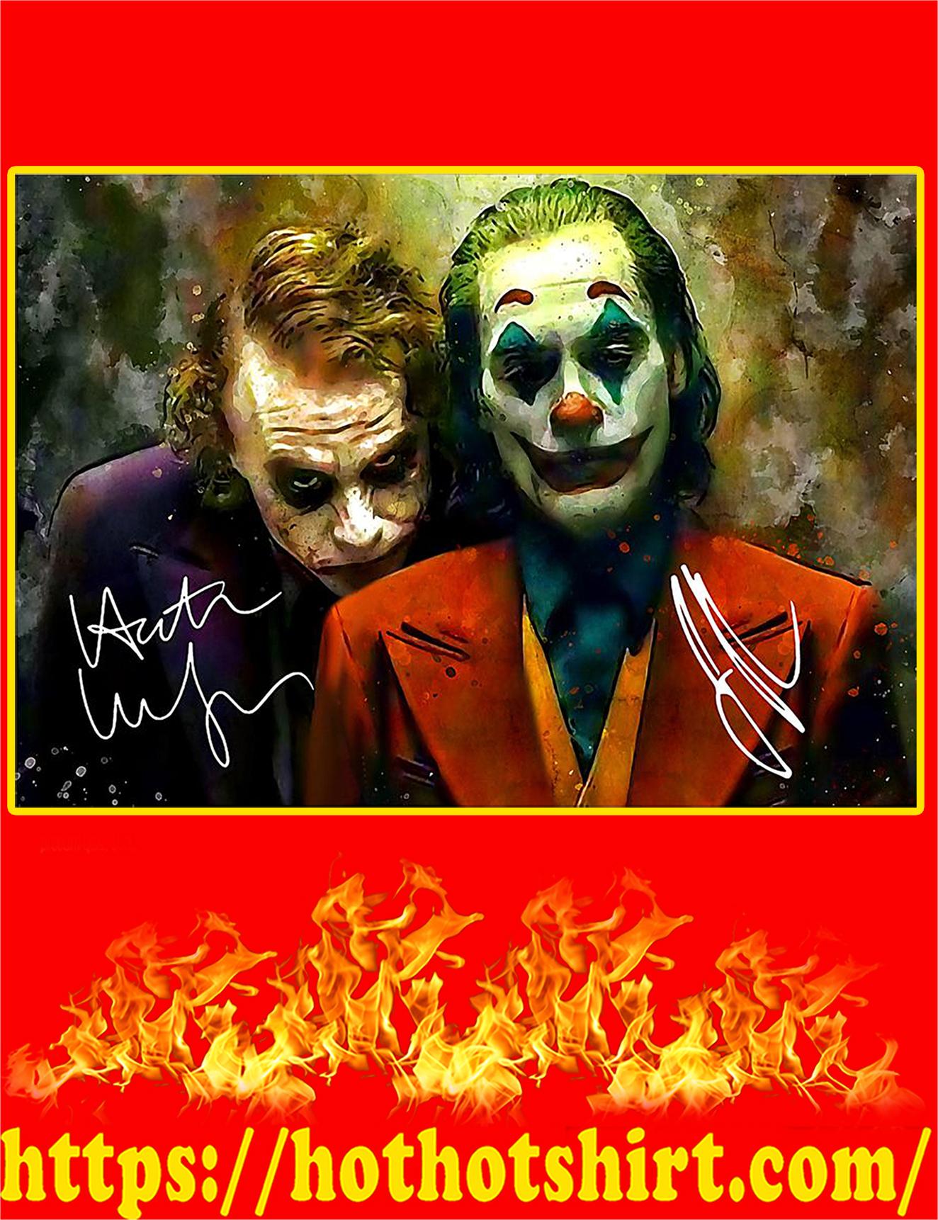 Joker Joaquin Phoenix and Heath Ledger Signature Poster - A3
