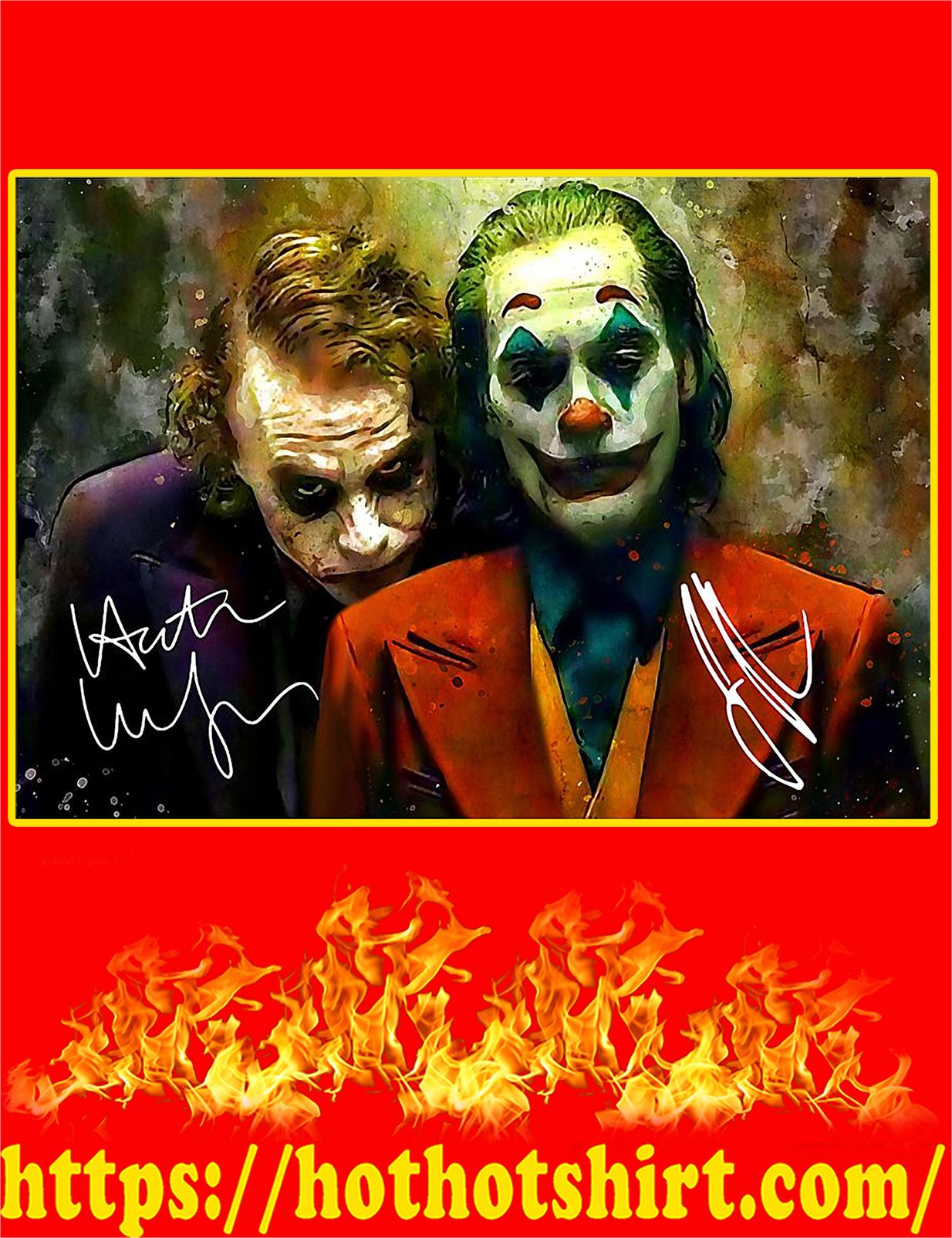 Joker Joaquin Phoenix and Heath Ledger Signature Poster - A4