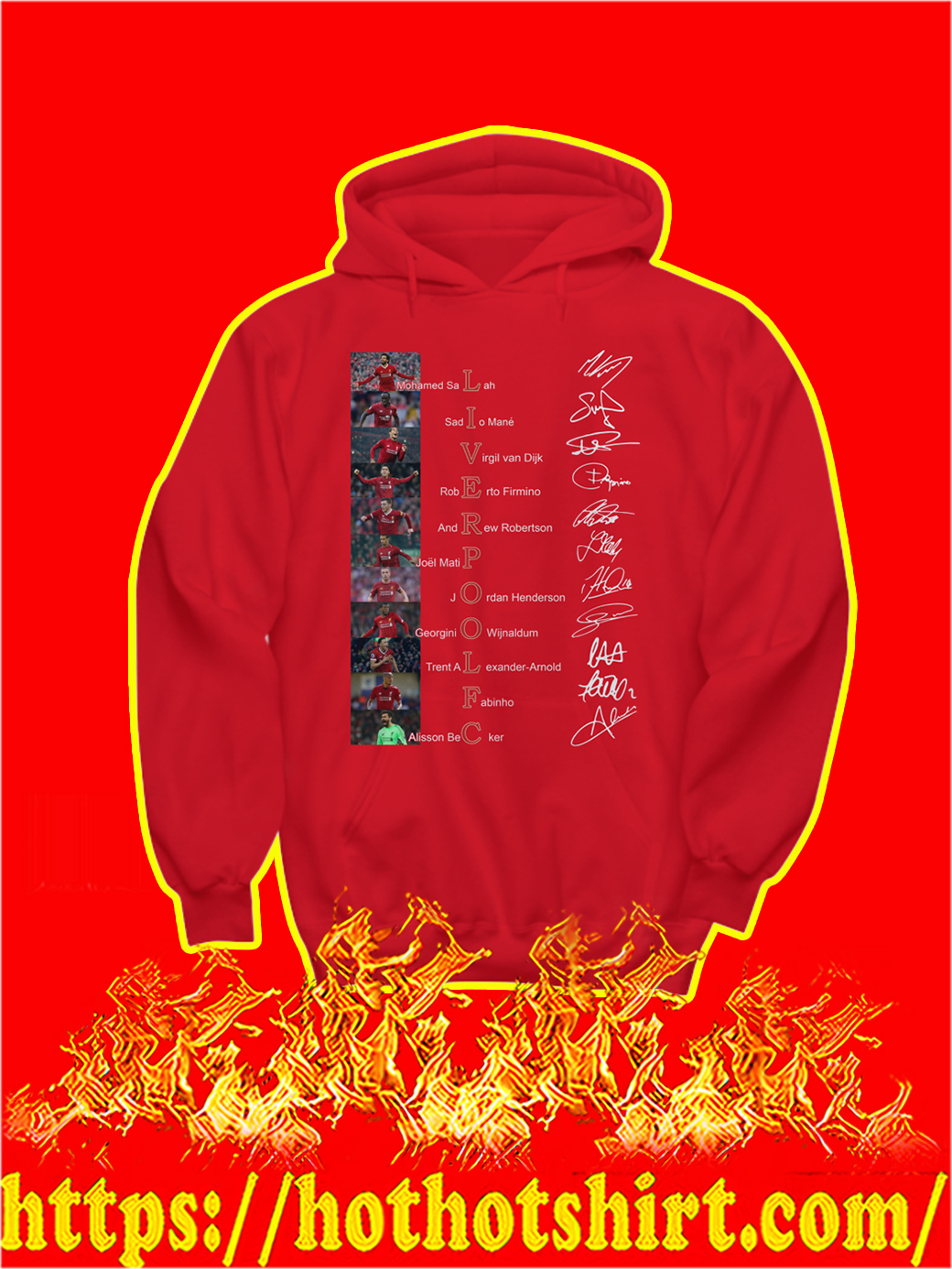 Liverpool FC Players Names Signature hoodie