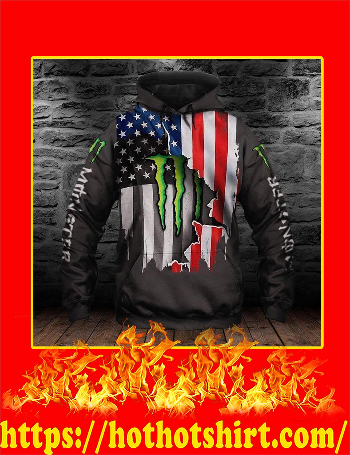 Monster Energy American Flag 3d Printed Hoodie - XL