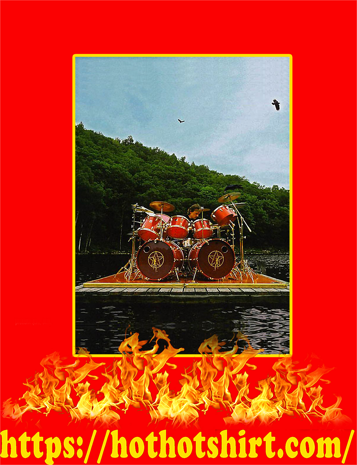 Neil Peart Playing Tama Superstar Outside On A Raft Poster - A2