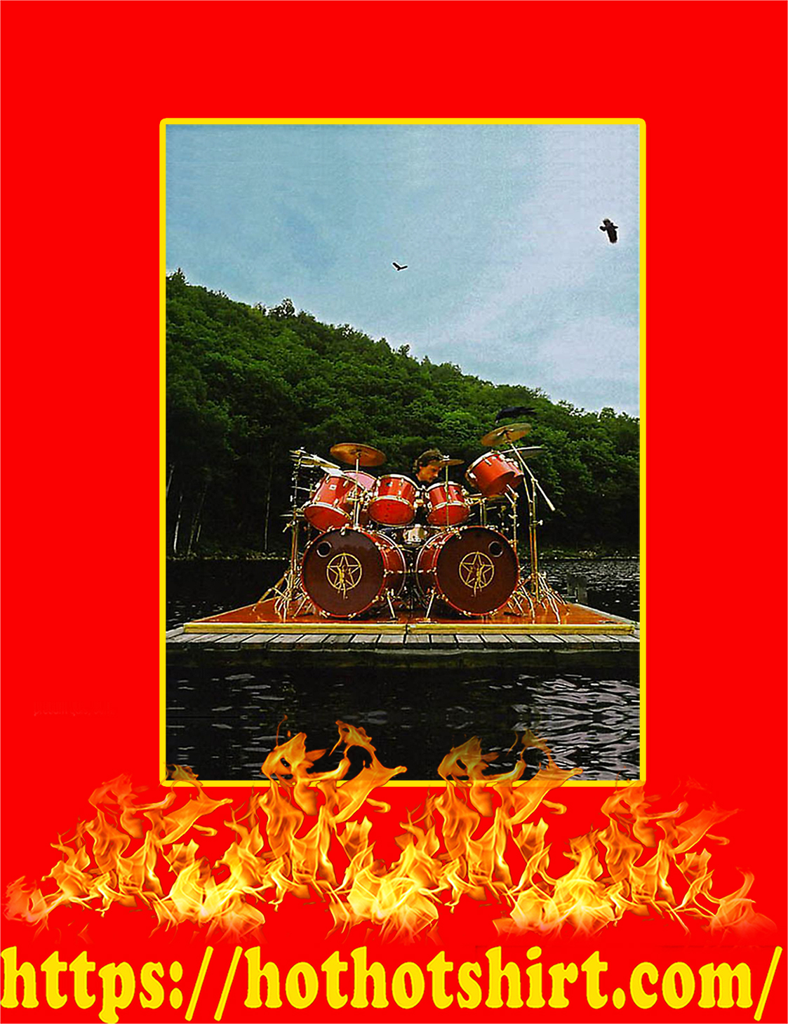 Neil Peart Playing Tama Superstar Outside On A Raft Poster - A4