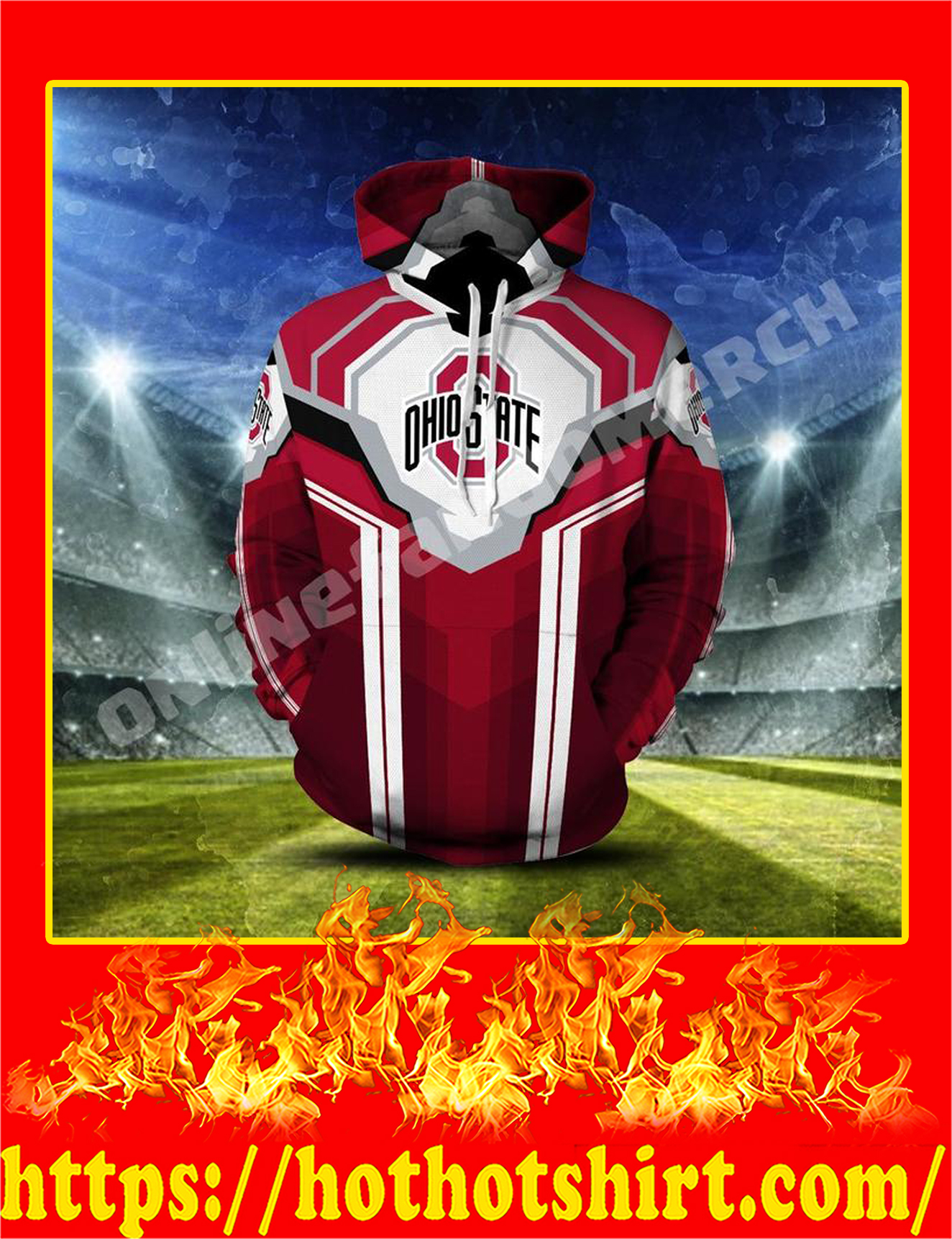 Ohio State Unisex 3D Printed Pull Over Hoodie - 2XL
