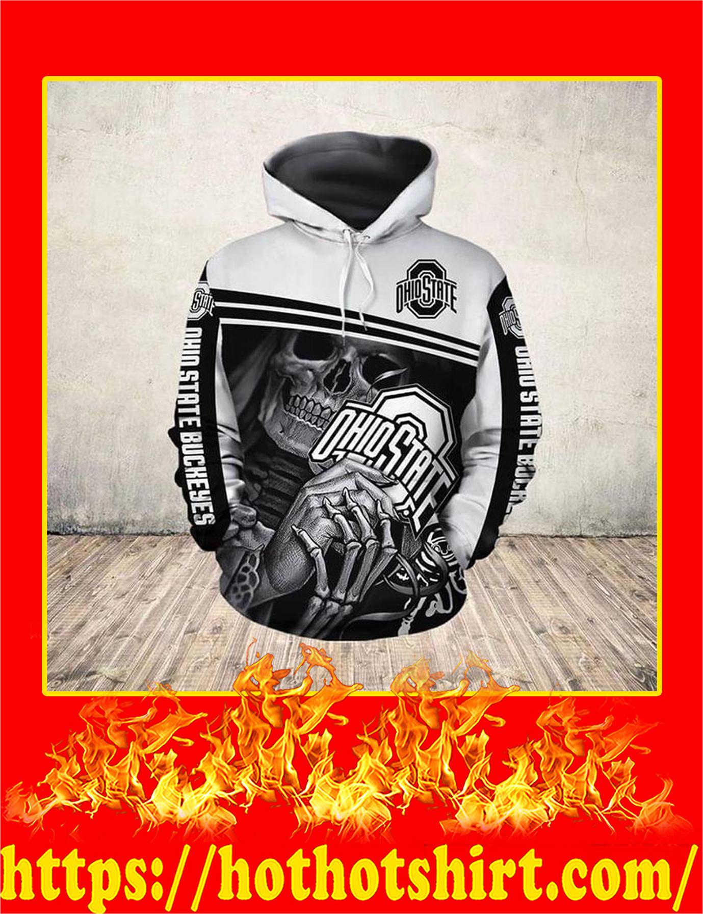Ohio States Buckeyes Skull 3D Printed Hoodie - XL