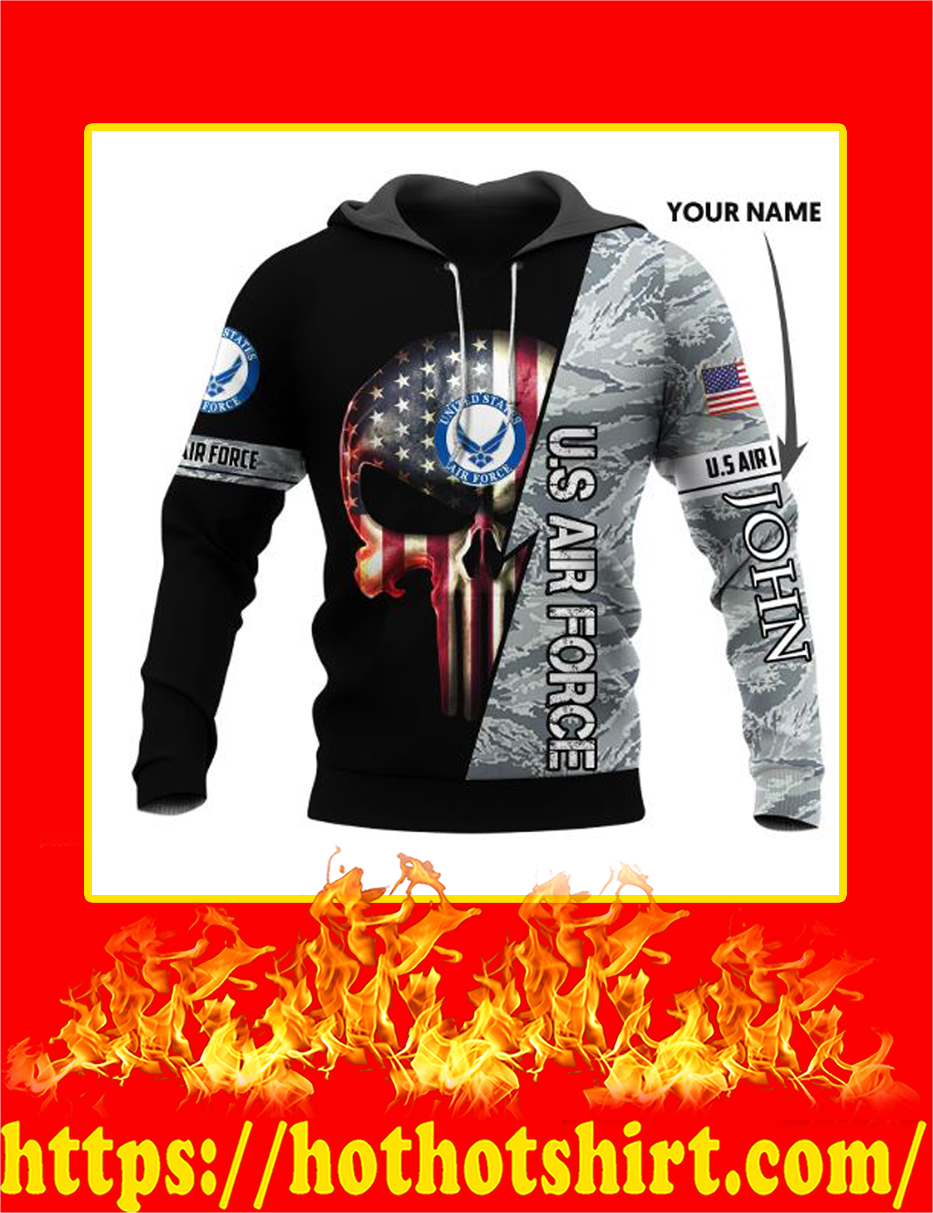 Personalized Custom Name US Armed Force Punisher Skull Hoodie-US Air Force