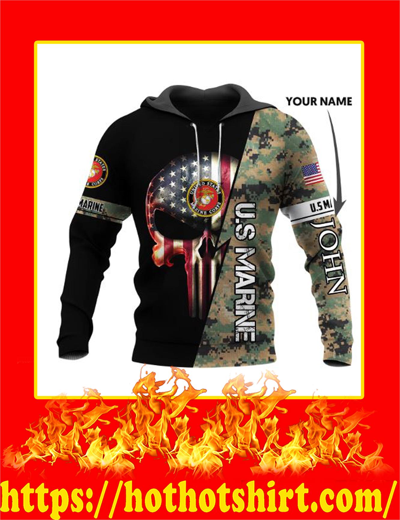 Personalized Custom Name US Armed Force Punisher Skull Hoodie - US Marine