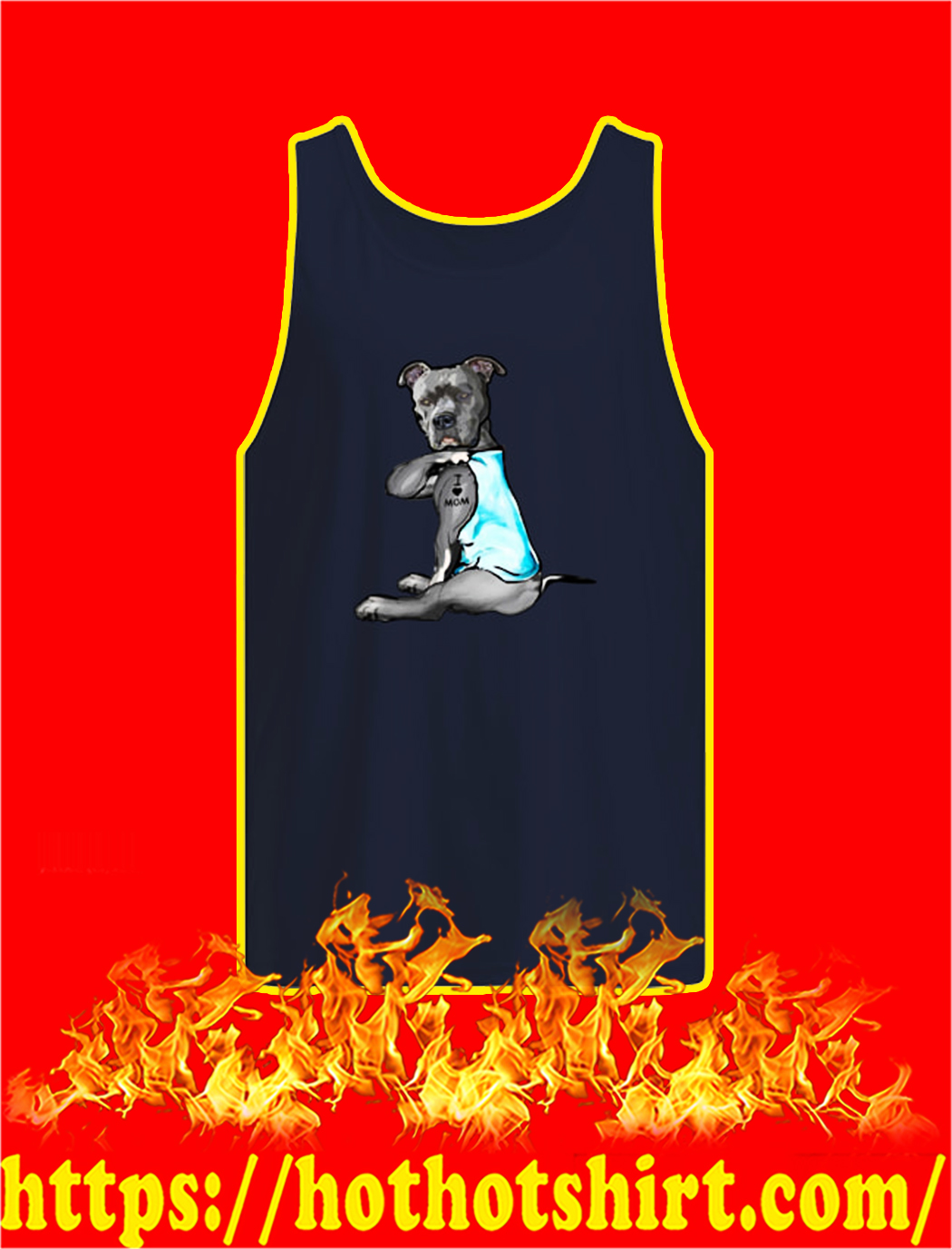 Pitbull I Love Mom tank top