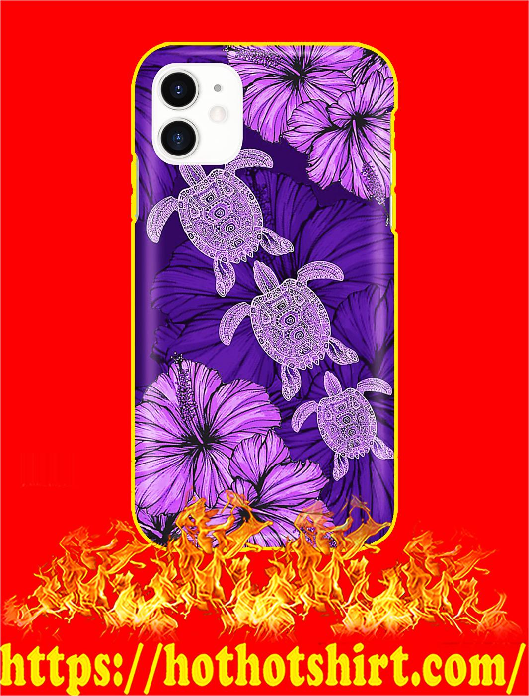 Purple Hibiscus Turtle Phone Case- iphone 11