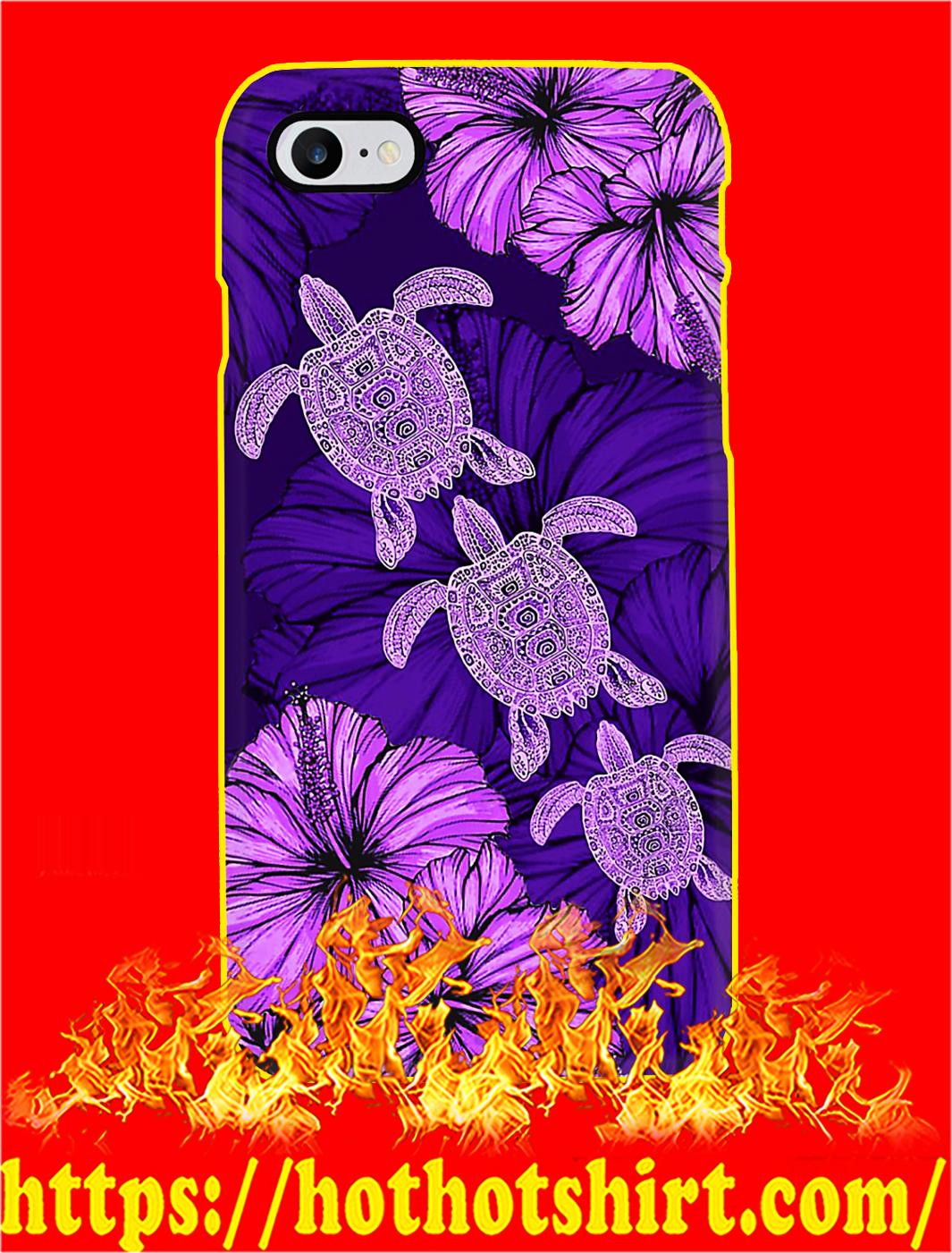 Purple Hibiscus Turtle Phone Case- iphone 8