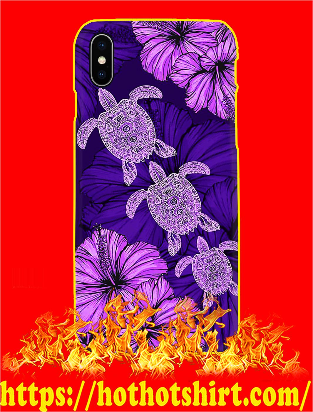 Purple Hibiscus Turtle Phone Case- iphone X