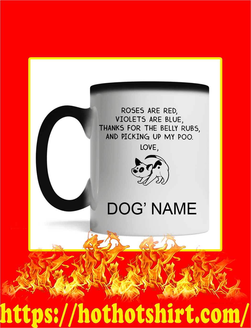 Roses Are Red Violets Are Blue Dog Custom Name Magic Mug