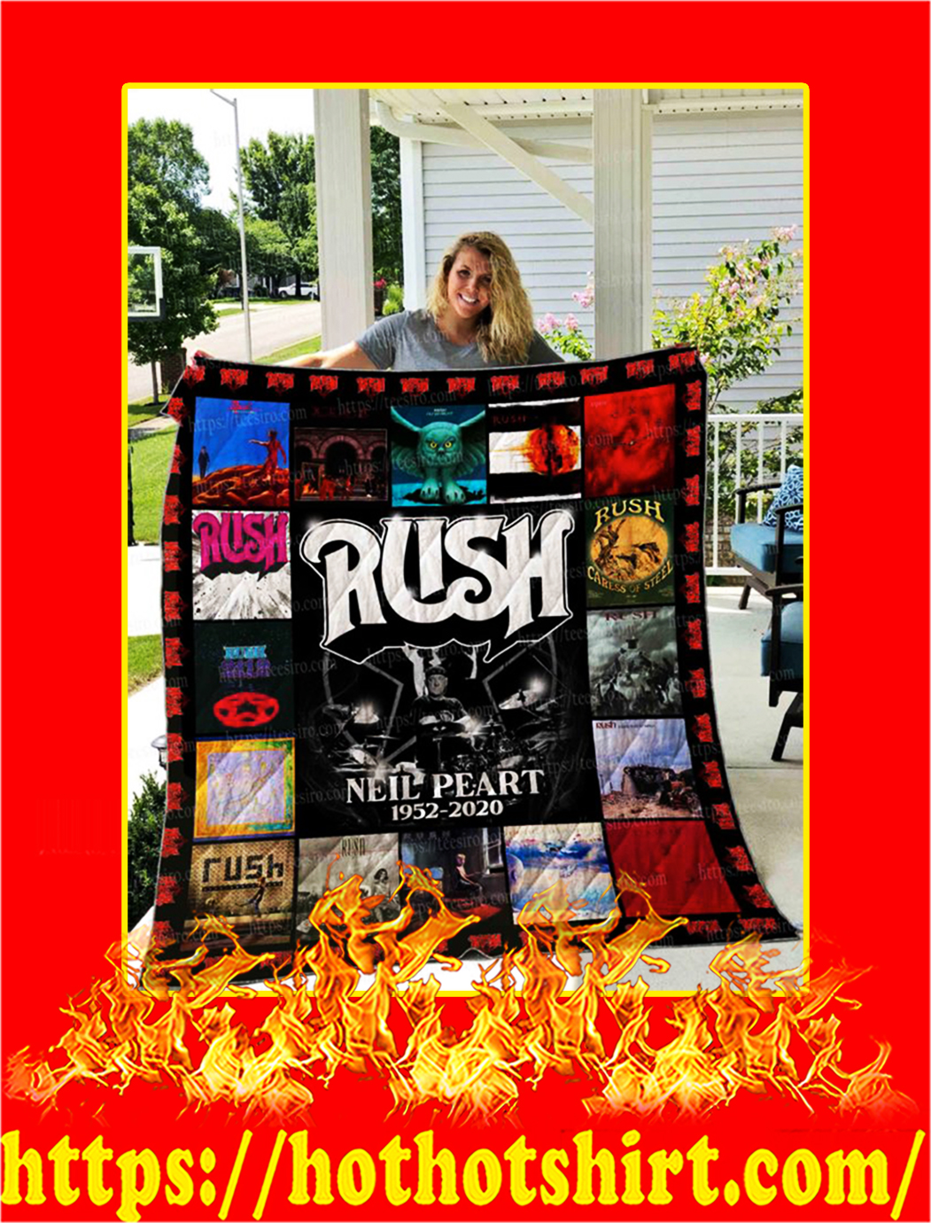 Rush Neil Peart Quilt Blanket - king