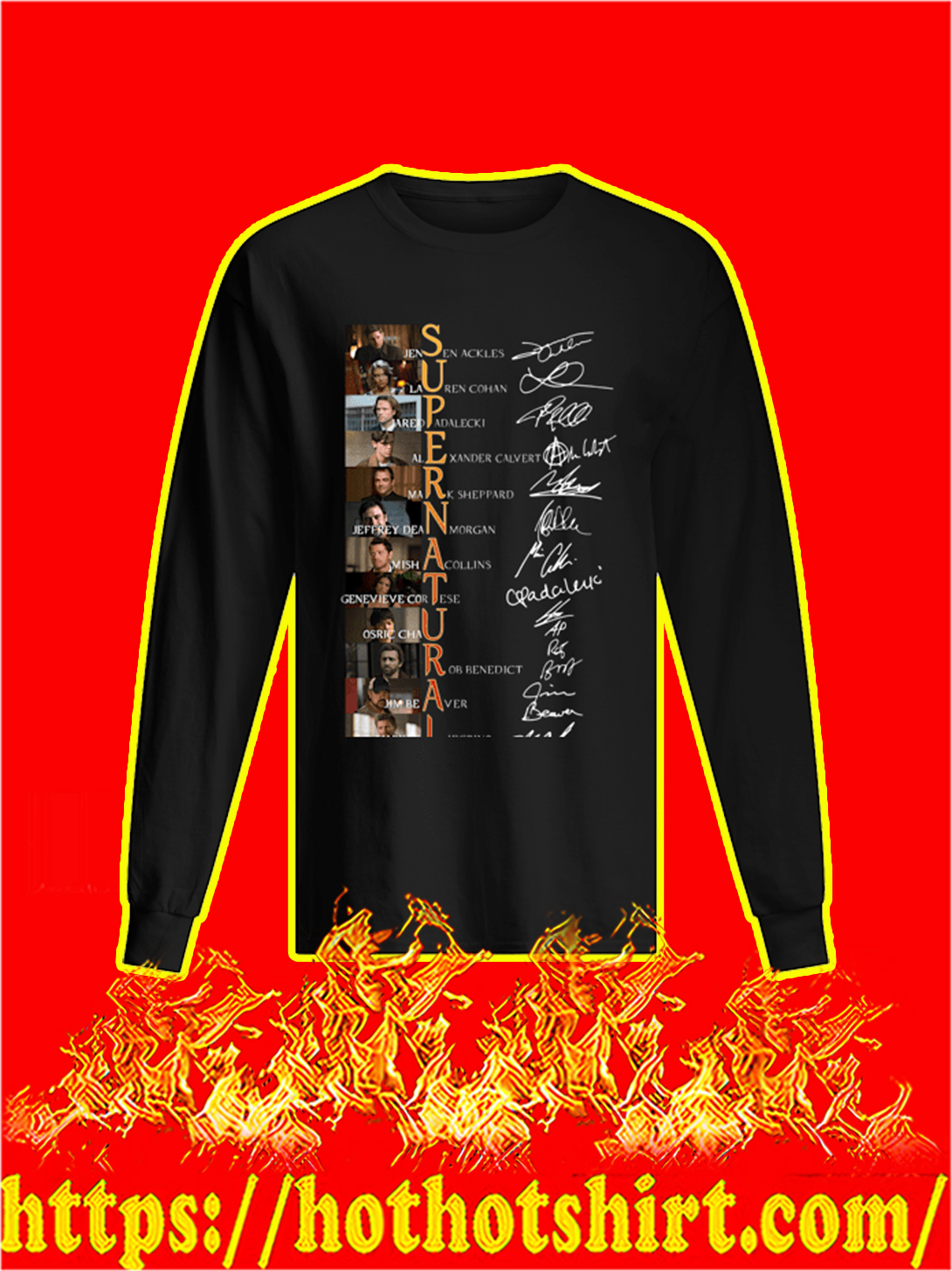 Supernatural All Actor Signature longsleeve tee