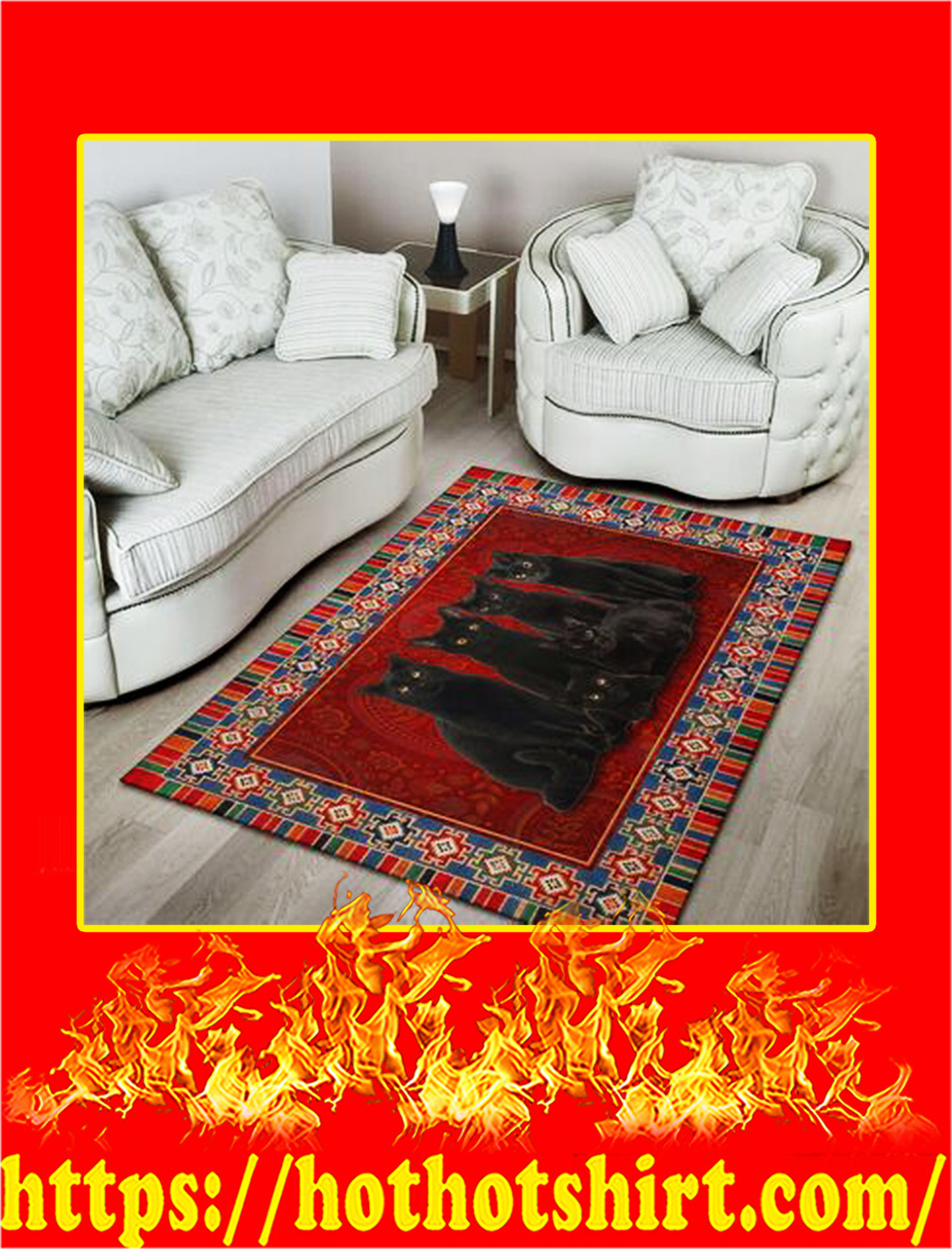 The Imperial Black Cat Rug- large