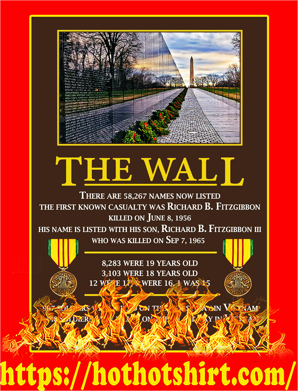 The Wall Vietnam Veterans Poster - A4