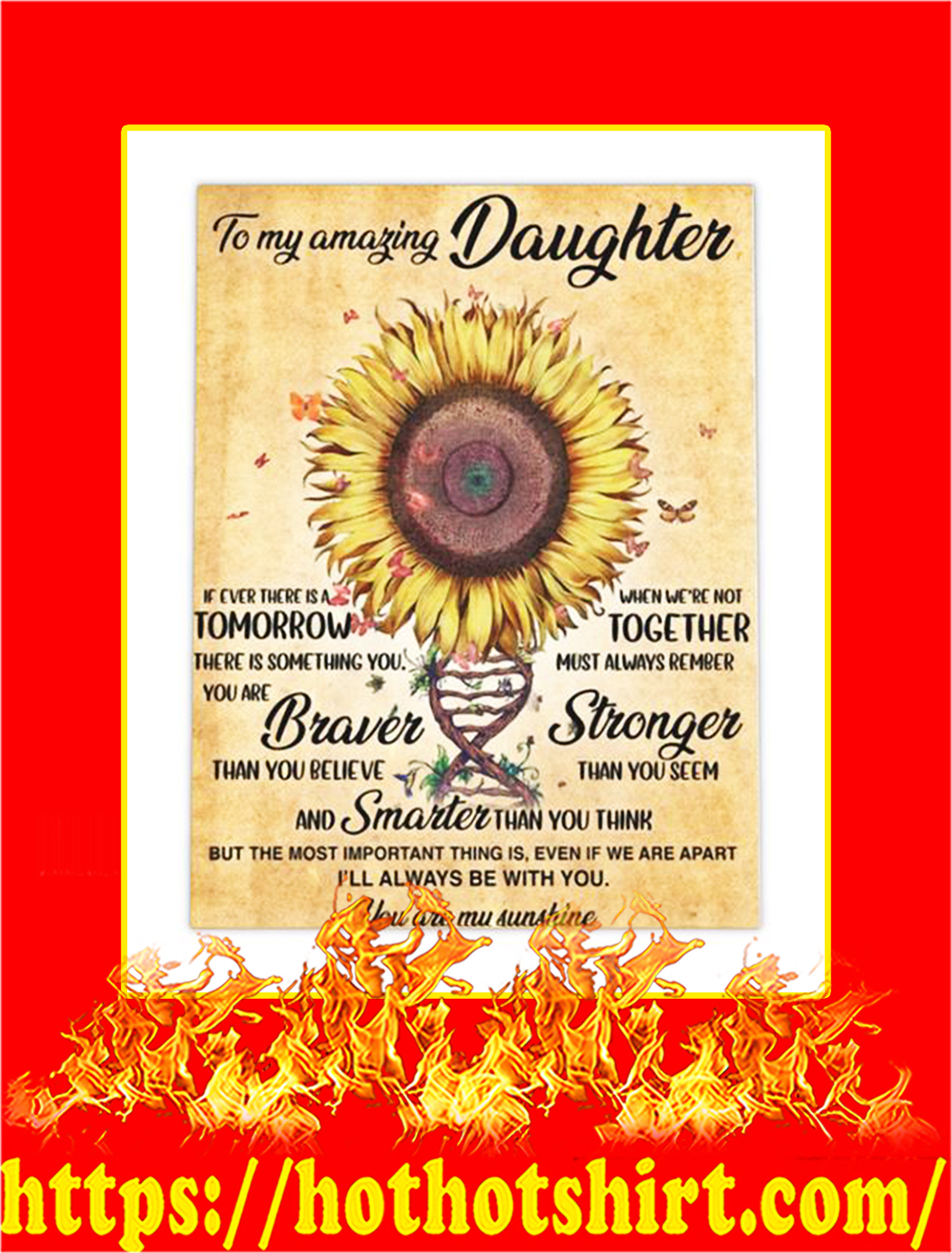 To My Amazing Daughter Sunflower Canvas Prints - Large